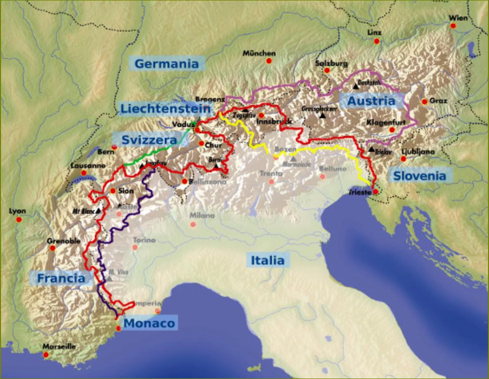 Mappa della via Alpina