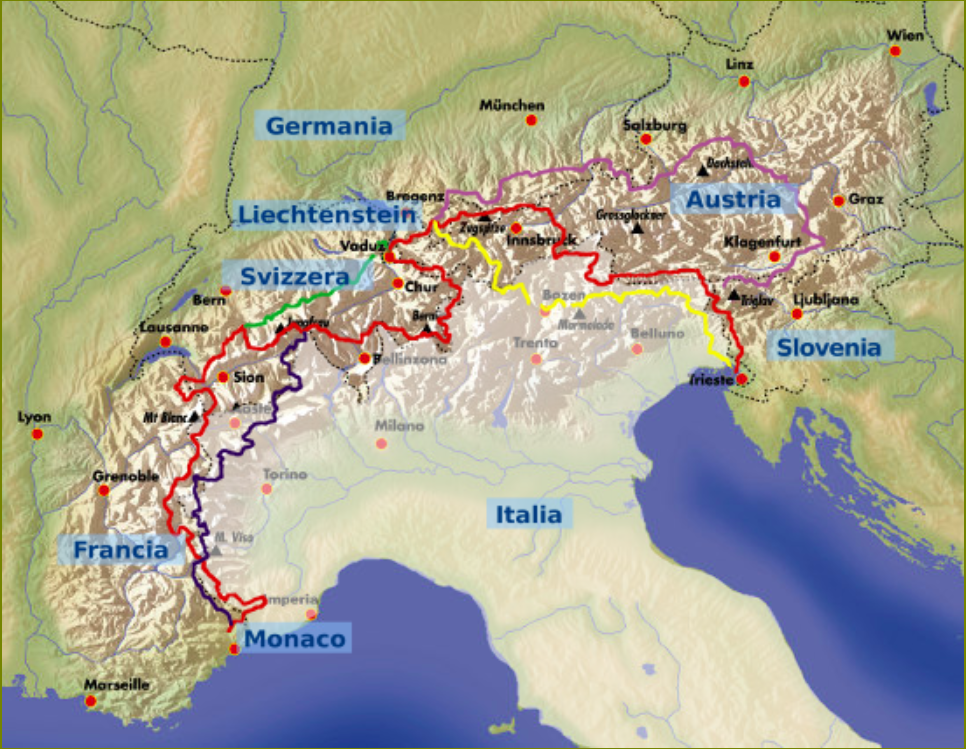 The map of the 5 Via Alpina routes