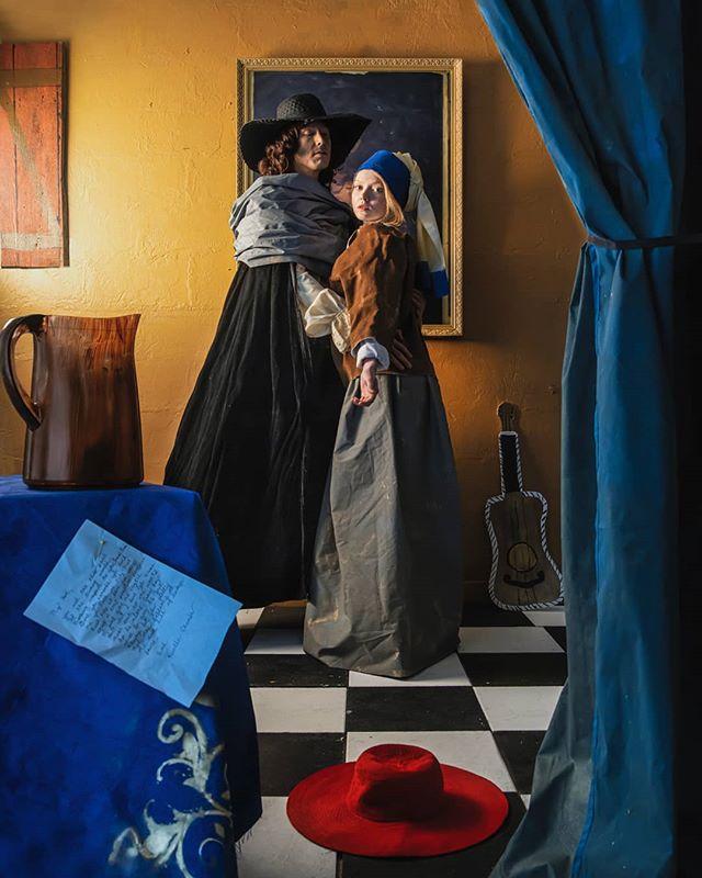 "Vermeer's Element ""Vermeer's Element ""  Vermeer: @iappearmissingnow Girl with a pearl earring: @theycallmekenny_g Makeup: @hrhpcorina Hair: @summeranjanettehair Editing: @robsydor . www.tracysydor.com . . . . . . #johannesvermeer #conceptualart #artinstallation #girlwithapearlearring"