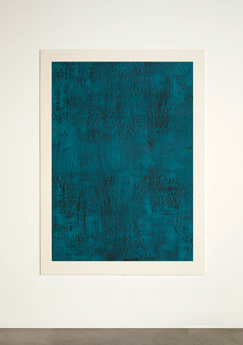 CONTINUOUS NOW – turquoise (III)  2012  pigment dispersal on 100% cotton fibre  147 x 108 cm   (private collection UK)