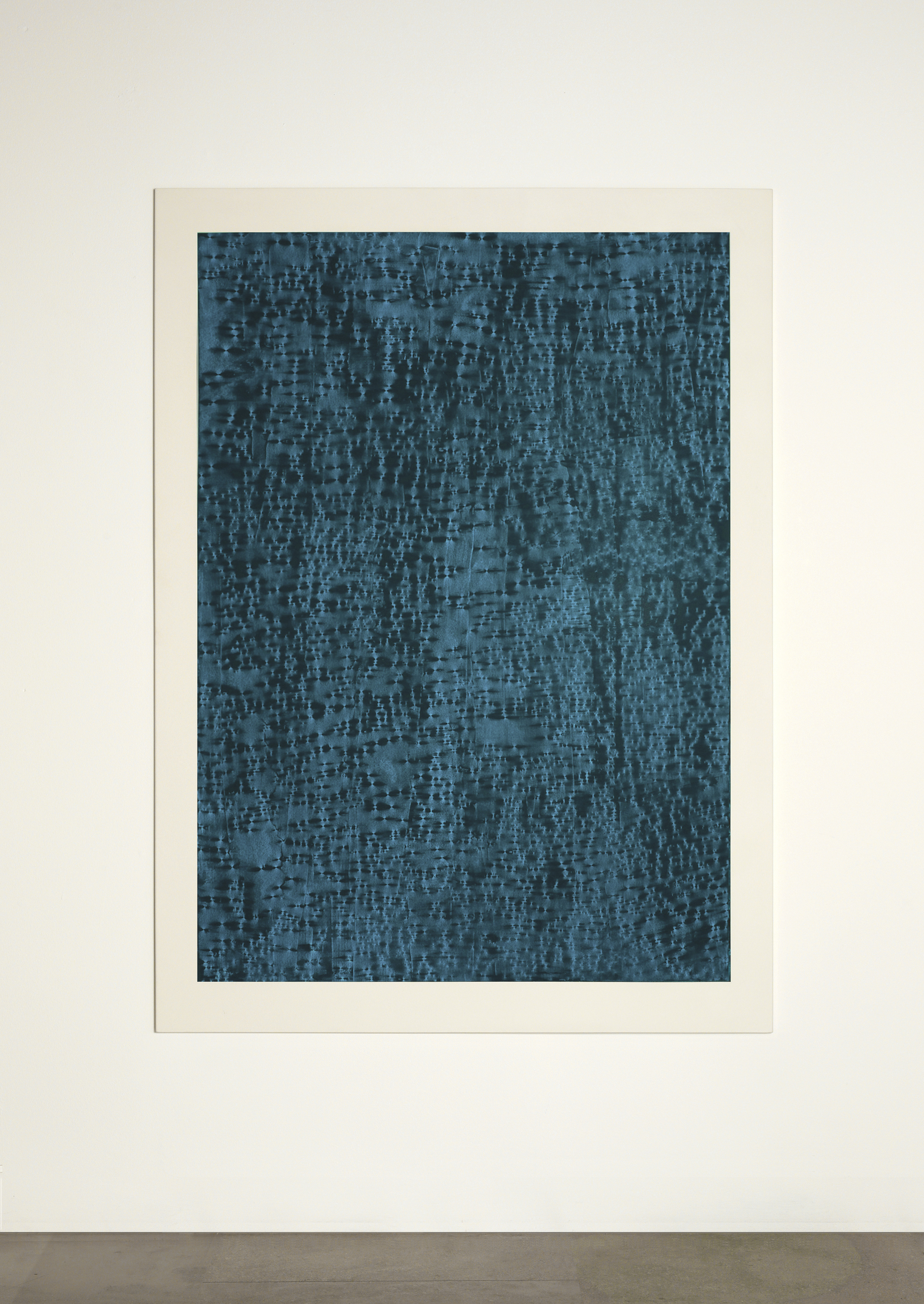 CONTINUOUS NOW – turquoise (II)  2012  pigment dispersal on 100% cotton fibre  147 x 108 cm