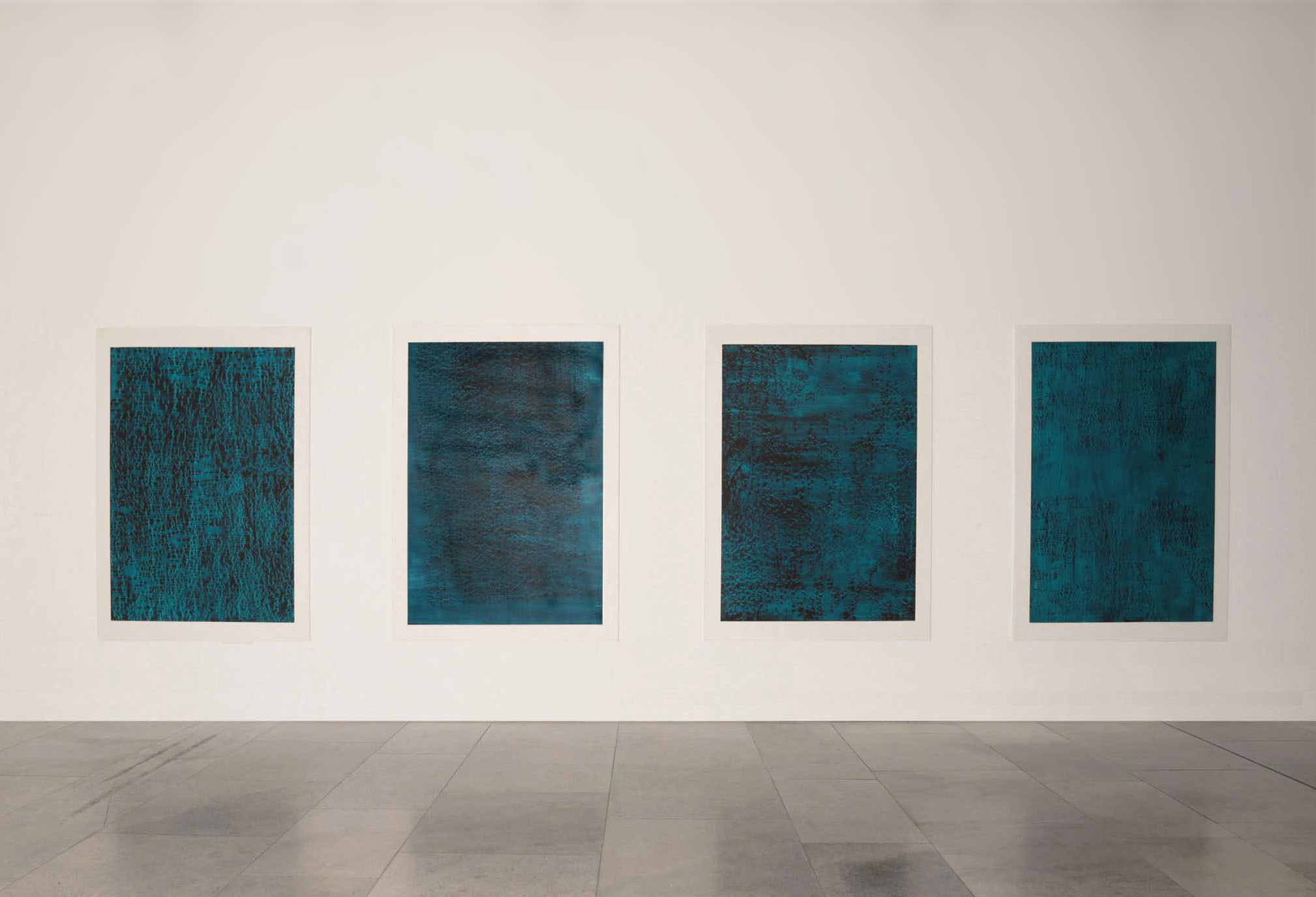 CONTINUOUS NOW – turquoise  series, 2012  pigment dispersal on 100% cotton fibre  each piece: 147.0 x 108.0 cm