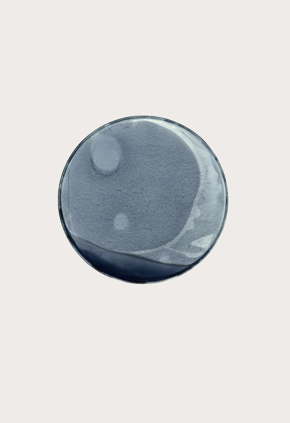 THIS IS NOW – indigo (II)  2010  pigment dispersal on 100% cotton fibre  101.0 x 73.7 cm,Ø 36.6 cm