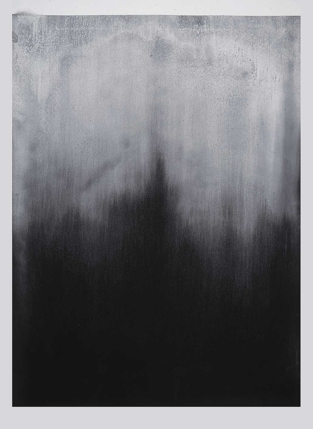 BEYOND THE REVEALING DARKNESS  1997  limestone powder on carbon deposit  165.0 x 113.0 cm