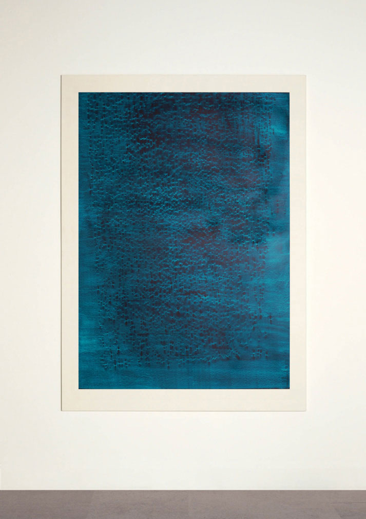 CONTINUOUS NOW – turquoise (I)  2012  100% cotton fibre with pigment dispersal mounted on aluminium  147 x 108 cm   (private collection, Norway)