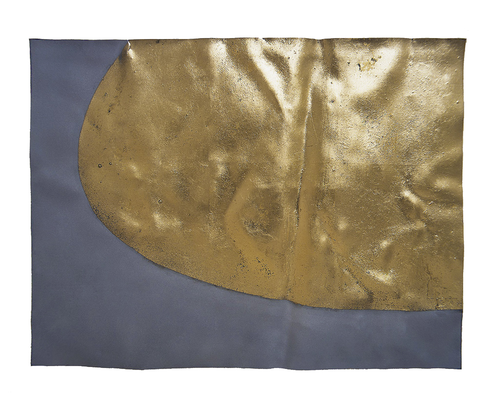 UNDULATING ELLIPSE (I)  2000  gold leaf on eroded zinc  20.1 x 26.7 x 0.32 cm   (private collection UK)