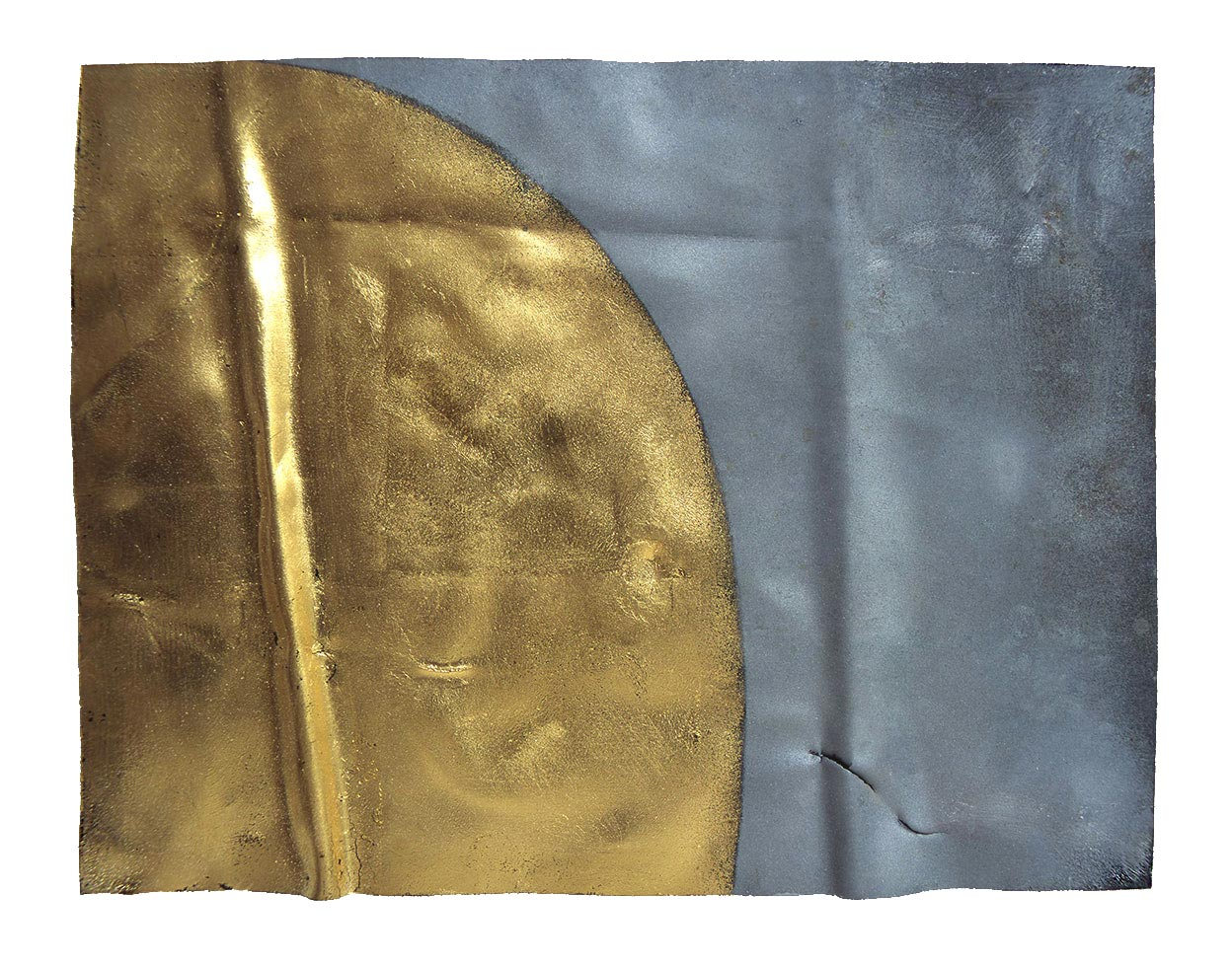 UNDULATING ELLIPSE  (III) 2000  gold leaf on eroded zinc  20.4 x 26.7 x 3.3 cm   (private collection UK)