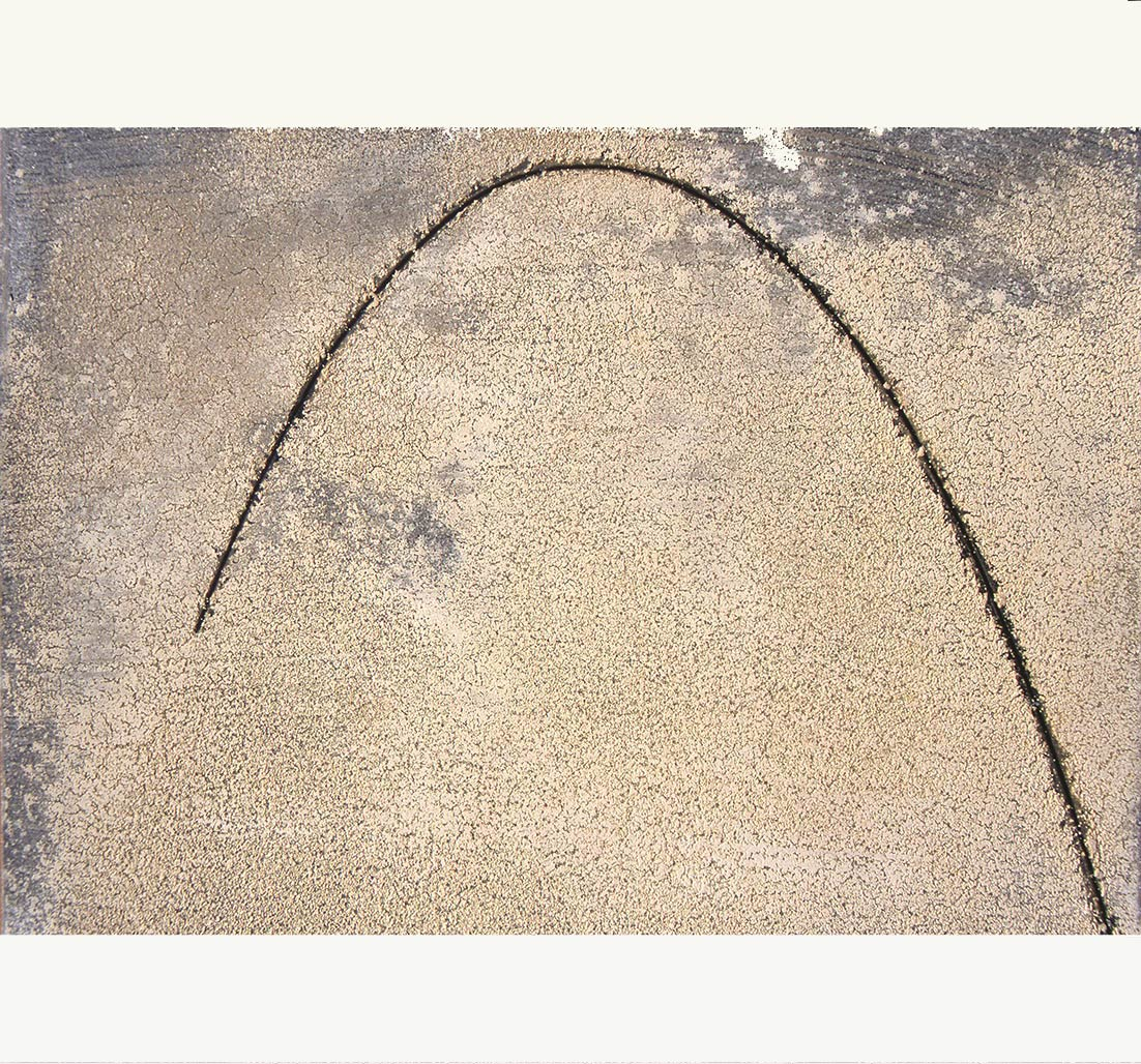 ELLIPSE LINE (IV)  2000  carbon, limestone powder, cotton fibre mounted on aluminium  30.0 x 36.0 cm   (private collection UK)