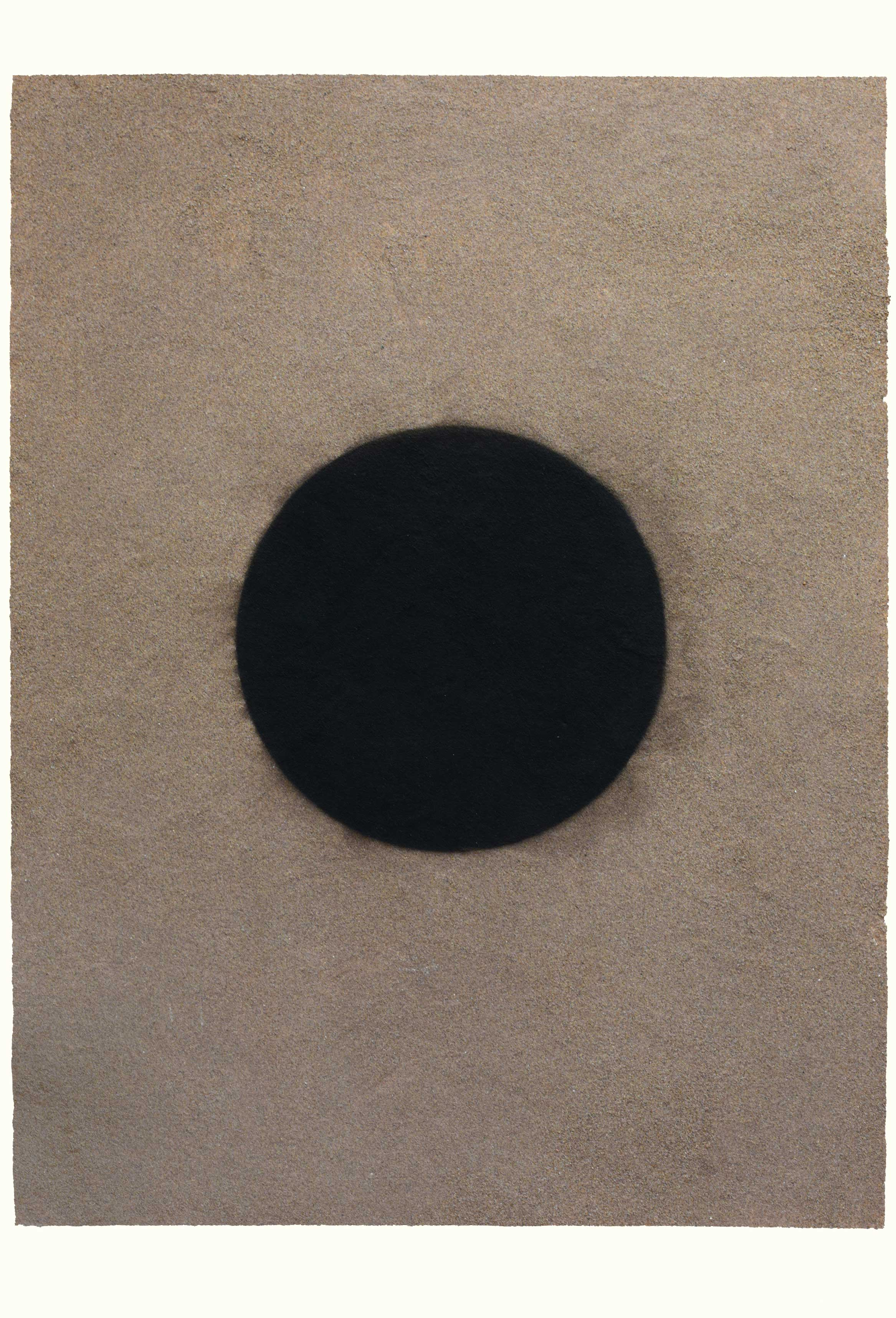 CIRCULAR PORTAL (I)  1997  carbon deposit and silver sand on paper  114.4 x 76.3 cm