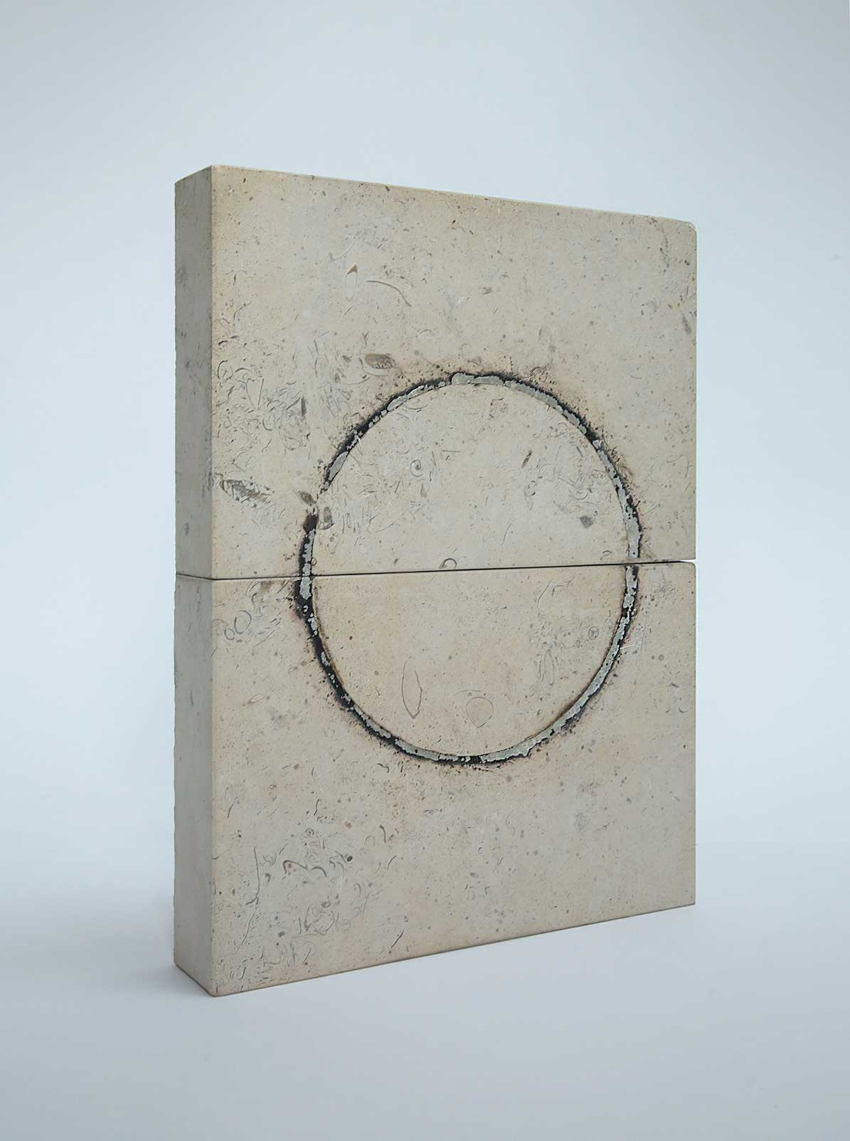 SIX THOUSAND DEGREES    2006  6000º fahrenheit on limestone  35.5 x 27.3 x 5.0 cm
