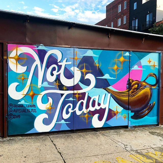 "Better luck next time 😴🧞‍♂️ ""Not Today"" lazy genie collabo in Bushwick with @jenna_leighb 💅"