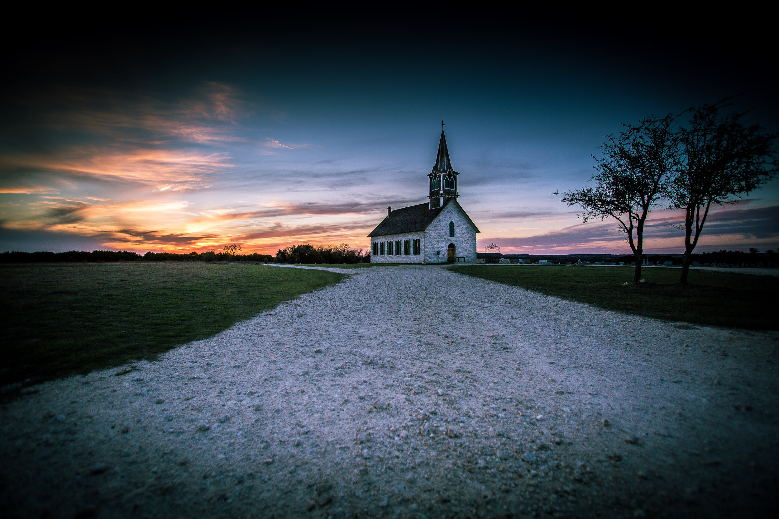 "St. Olaf's Church, also known as the ""Rock Church"" in Cranfills Gap, Texas."