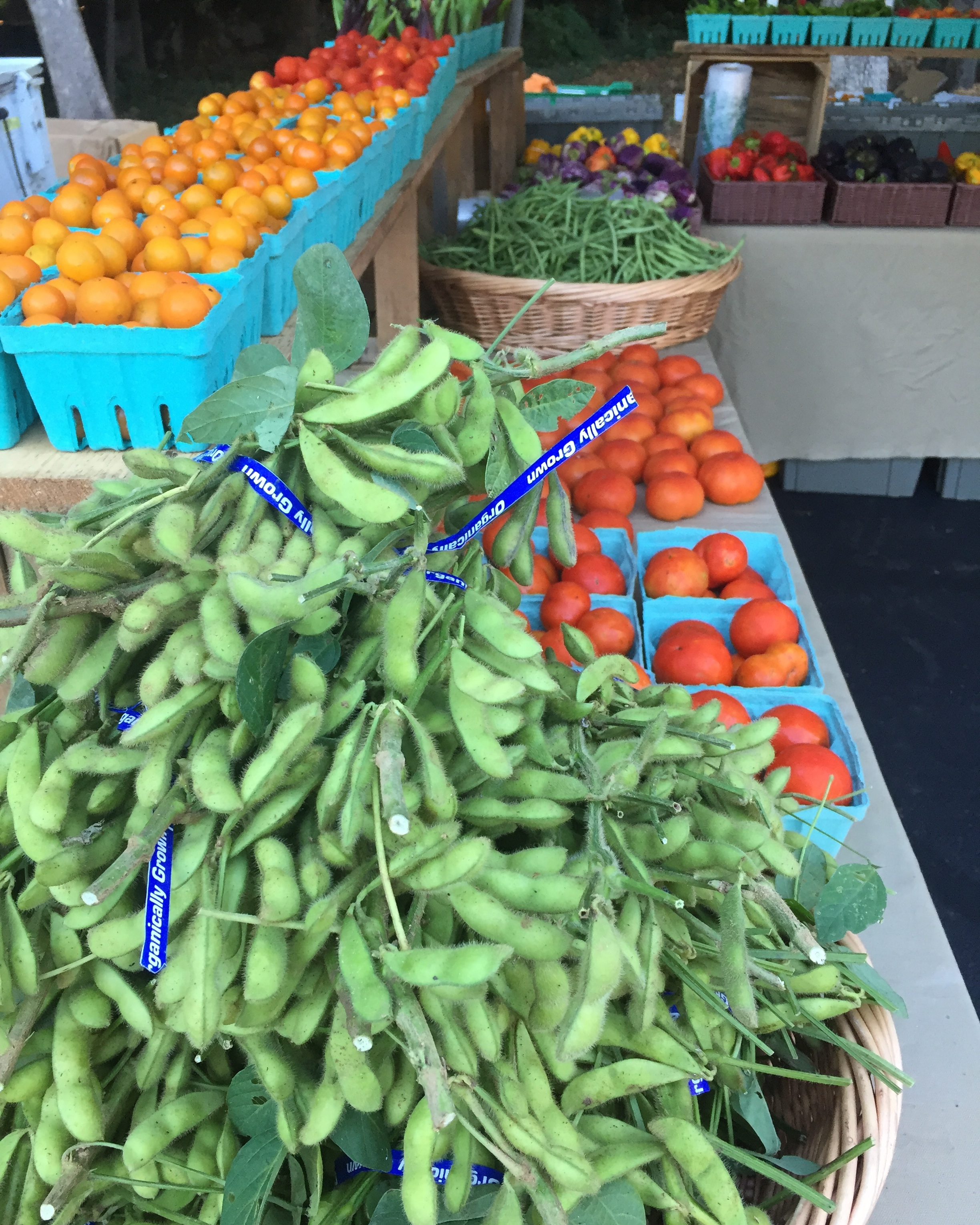 You can find a variety of in-season produce at PRFM including edamame grown by Rodgers Greens and Roots.