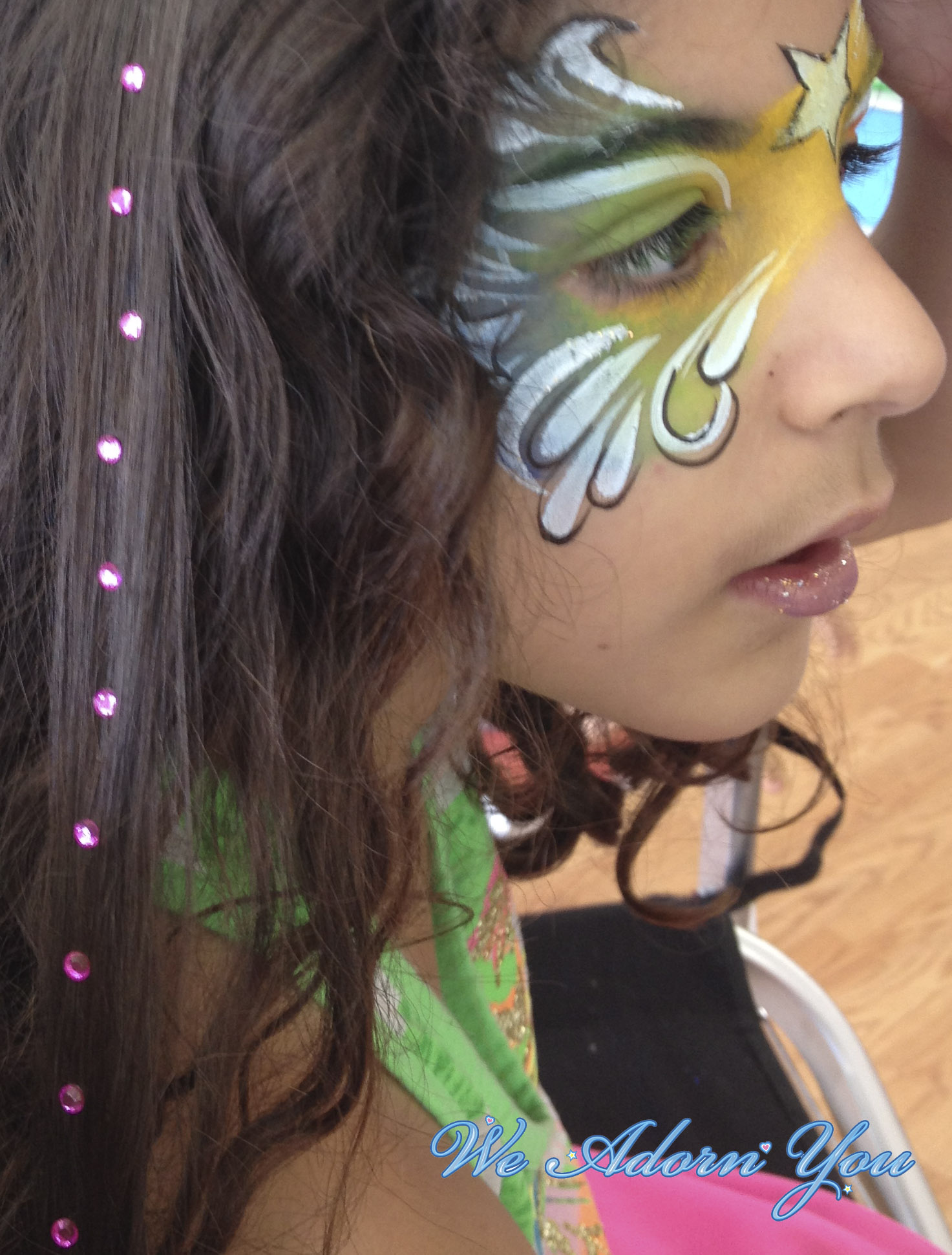 Hair Crystal and Face Painting Girl- We Adorn You.jpg