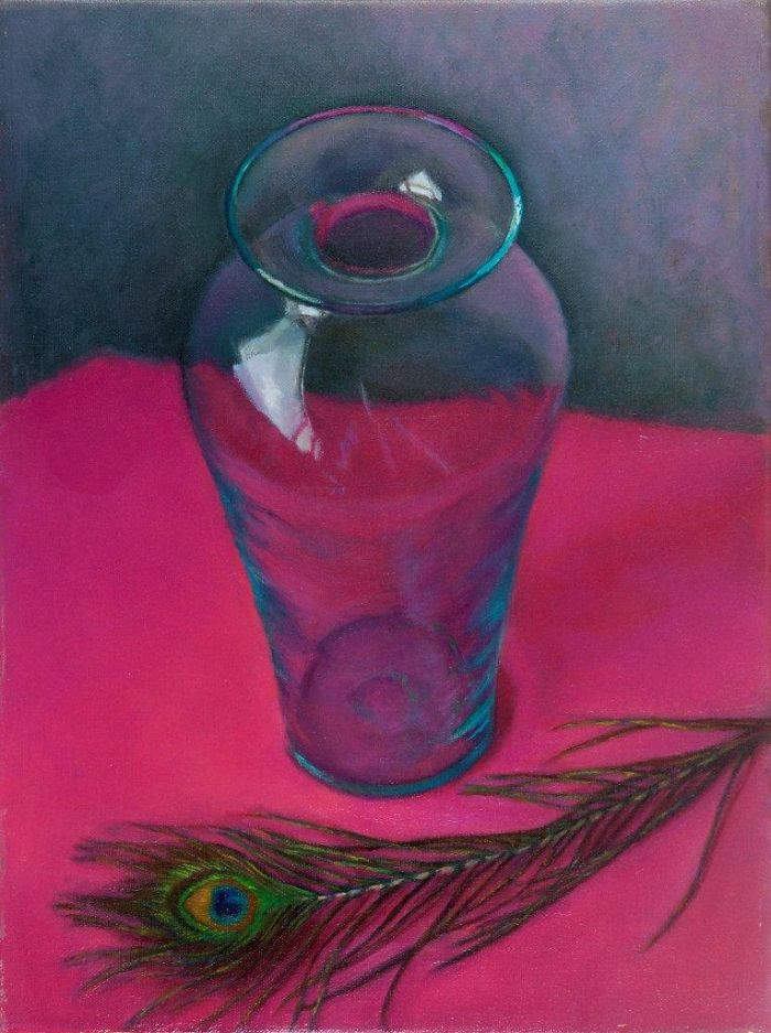 """Glass and Feather - 16"""" x 12"""" Oil on Linen"""