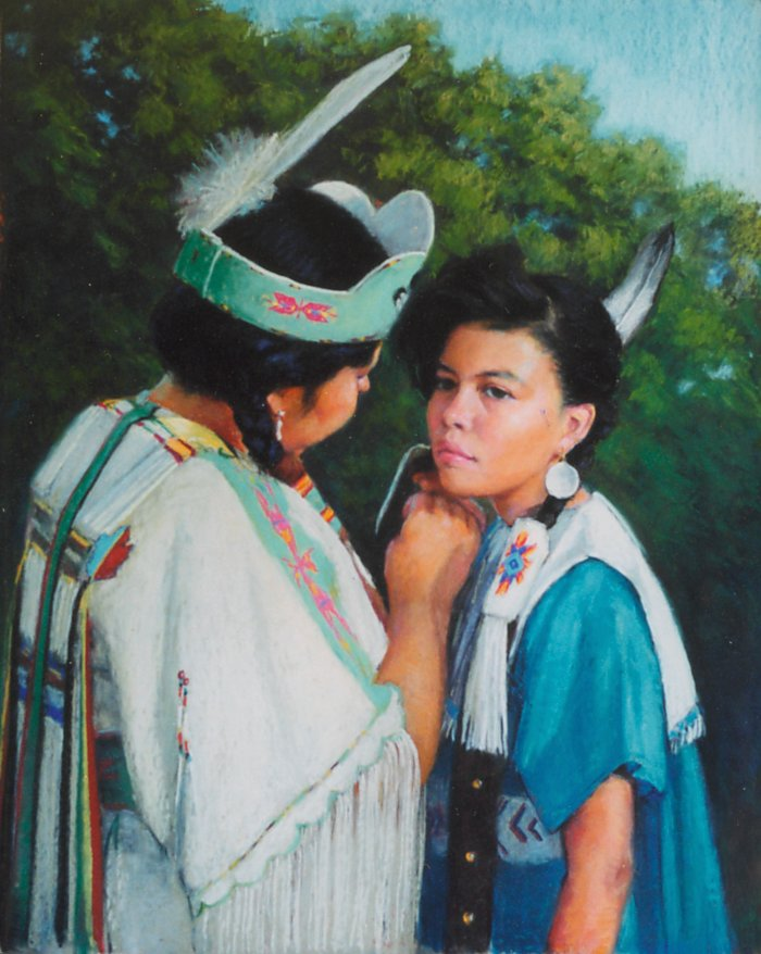 """Before the Powwow - 28""""x22"""" Pastel"""