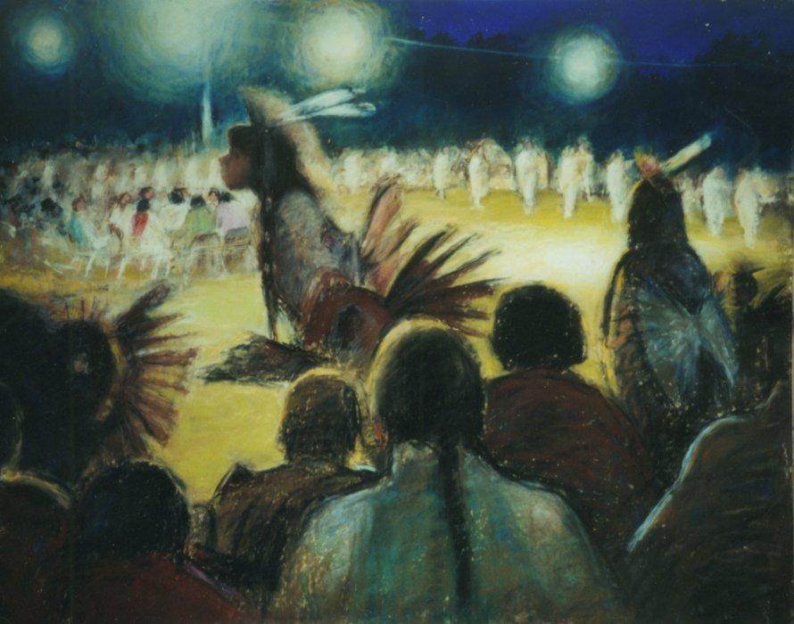 """Night Powwow - 28""""x22"""" Pastel"""