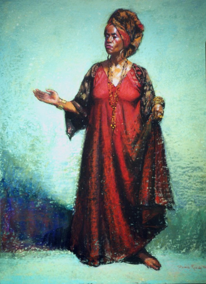 "Woman with Turban - 28"" x 22"" Pastel"
