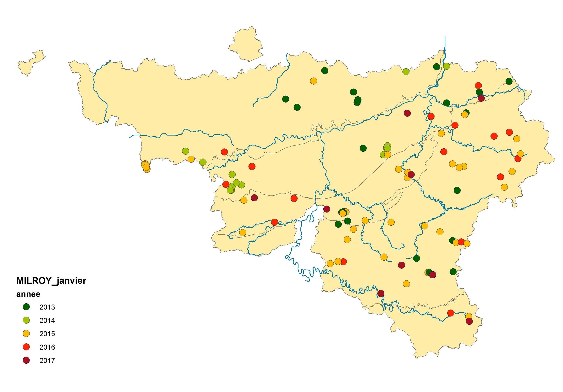 Figure 2 : Carte des observations de janvier de 2013 à 2017 en Wallonie. Les régions à caractère herbager de Haute-Belgique concentrent la plupart des observations