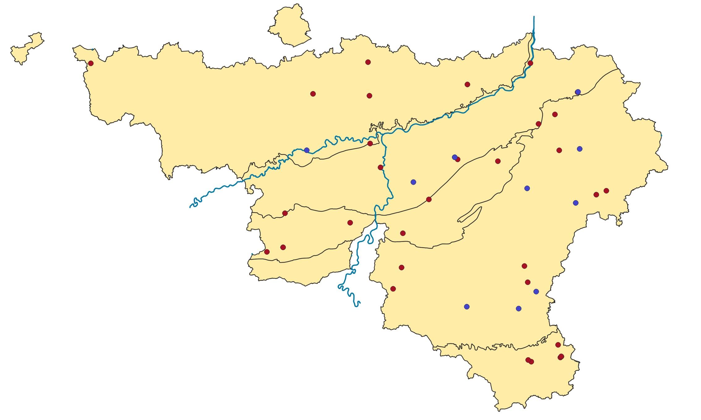 Figure 1 : Carte des observations de décembre 2018 (rouge) et janvier 2019 (bleu) en Wallonie.