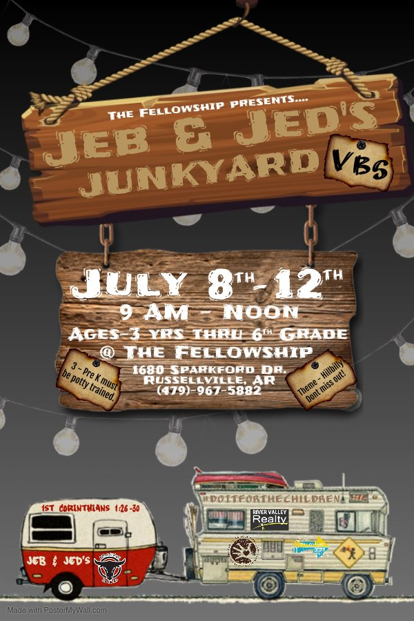 Excited to announce that we will be doing our very own, never done before.....Jeb and Jed's Junkyard VBS!   Our VBS is open to kids ages 3 yrs old (MUST BE potty trained) thru 6th Grade.  Click below to Register your child.   #DoItForTheChildren   #VBS2K19
