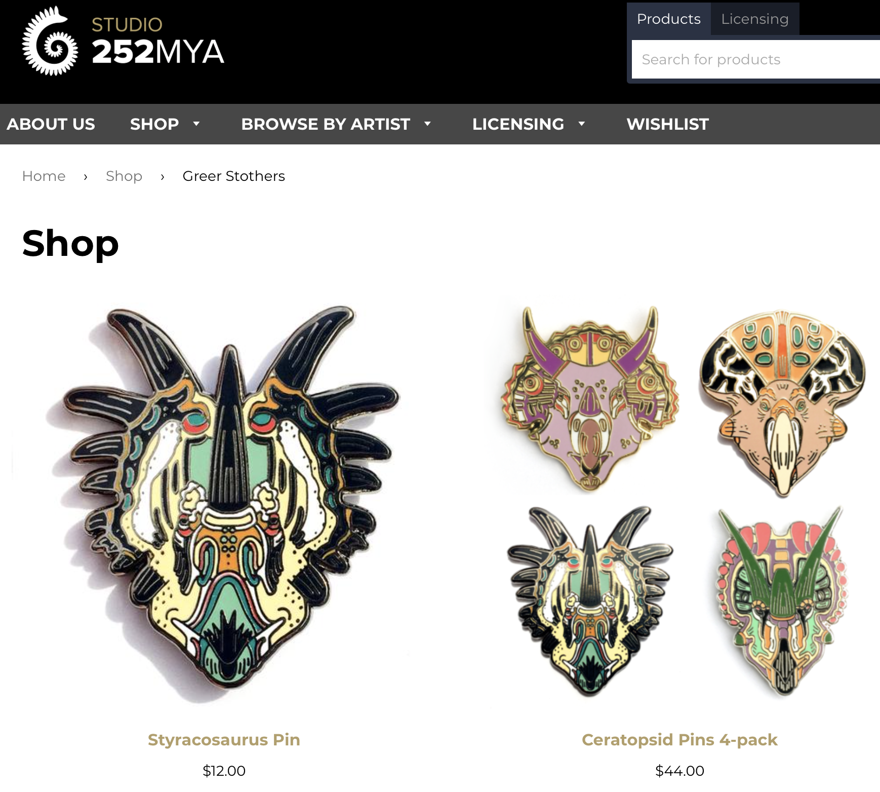 A screenshot of my work on 252mya.com