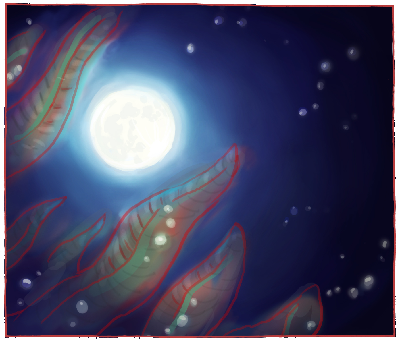 Concept 5: Ediacaran fauna shot from underwater, with a view of the moon
