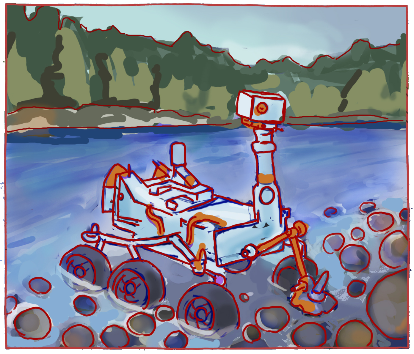 Concept 5: Mars Rover on the Canadian Shield, examining stromatolites