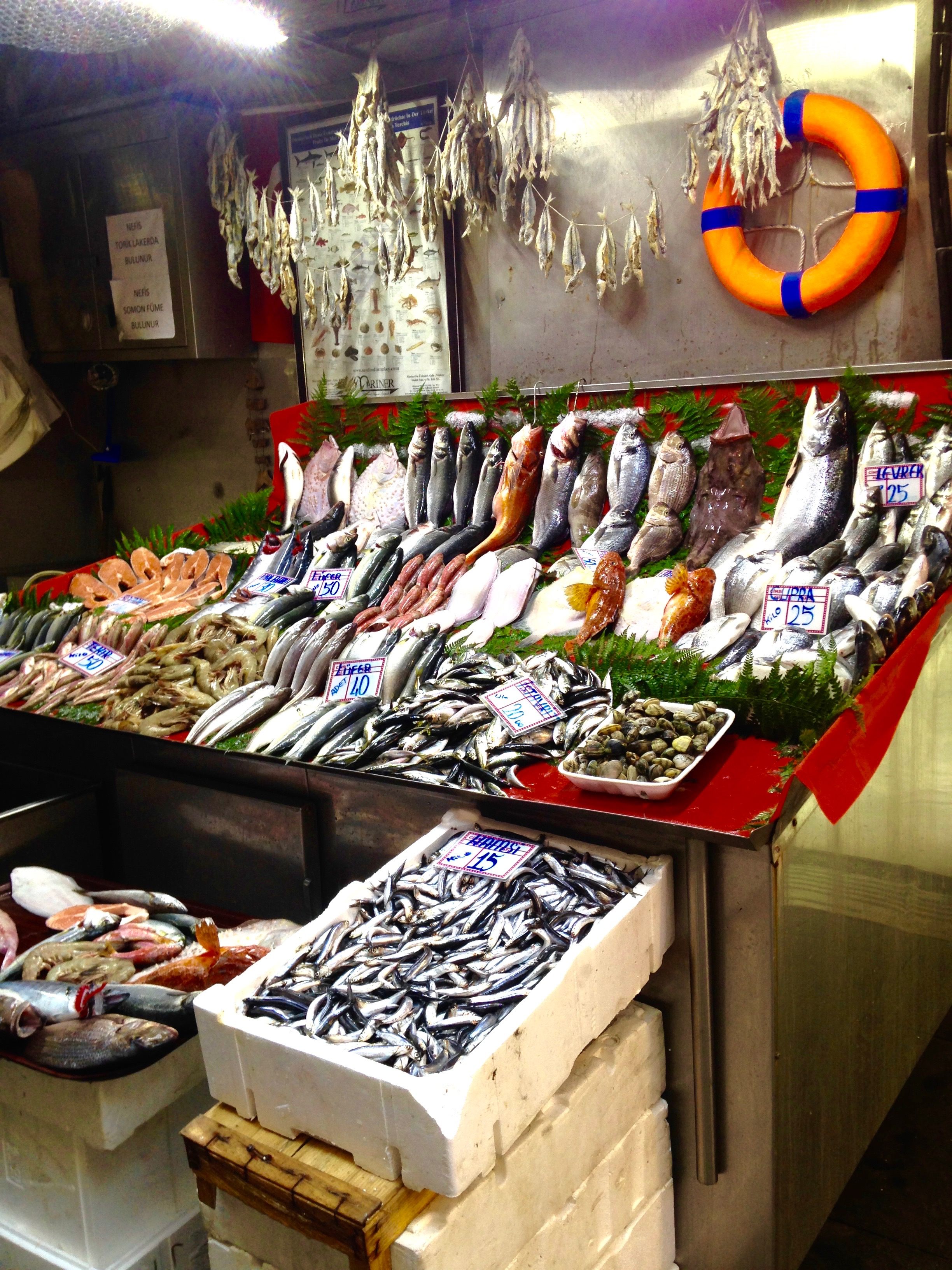 fish stall on Sahne sk in beyoglu, istanbul - m.quigley