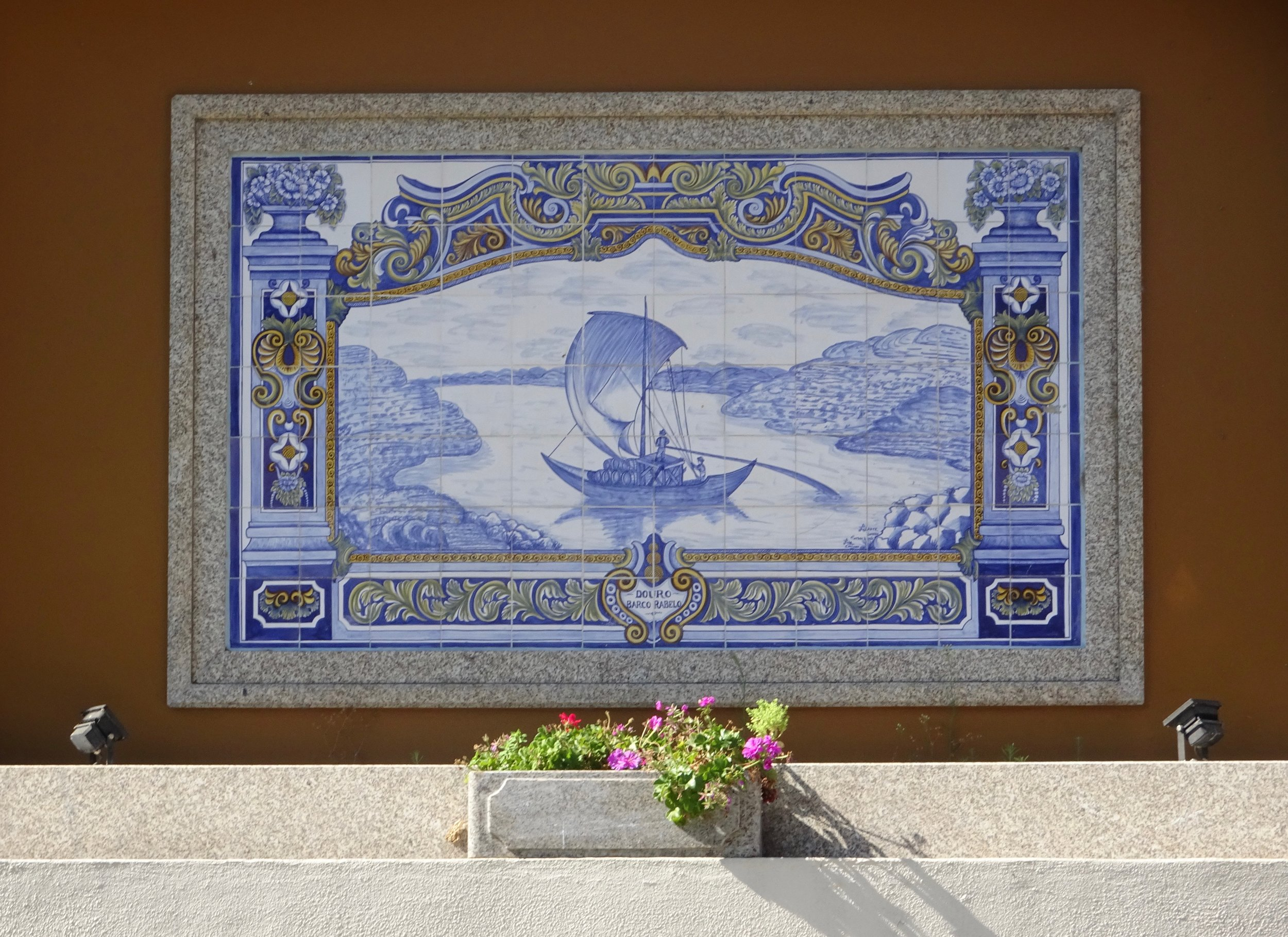 Azulejos tile depicting Port runners,  Douro River Valley, Portugal - M.Quigley