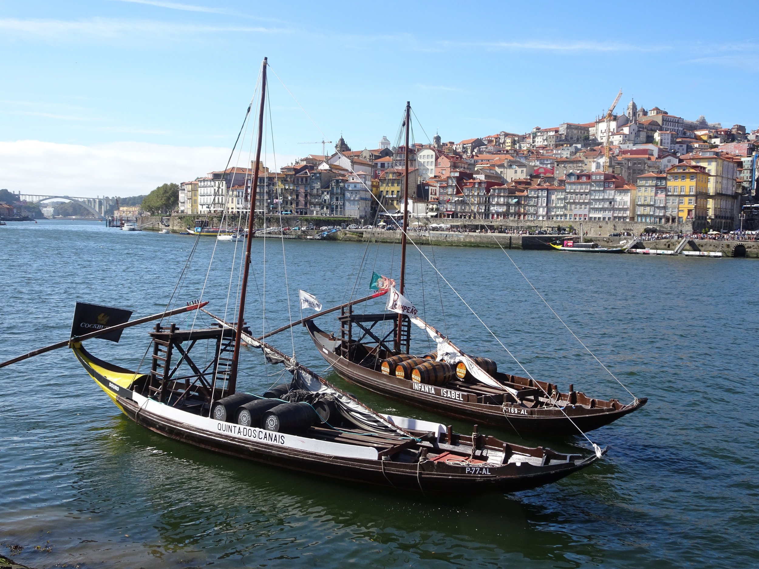 Old Port boats left as example for tourist in Porto, Portugal - M.Quigley