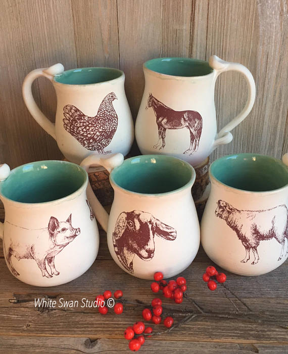 farm mugs - white swan