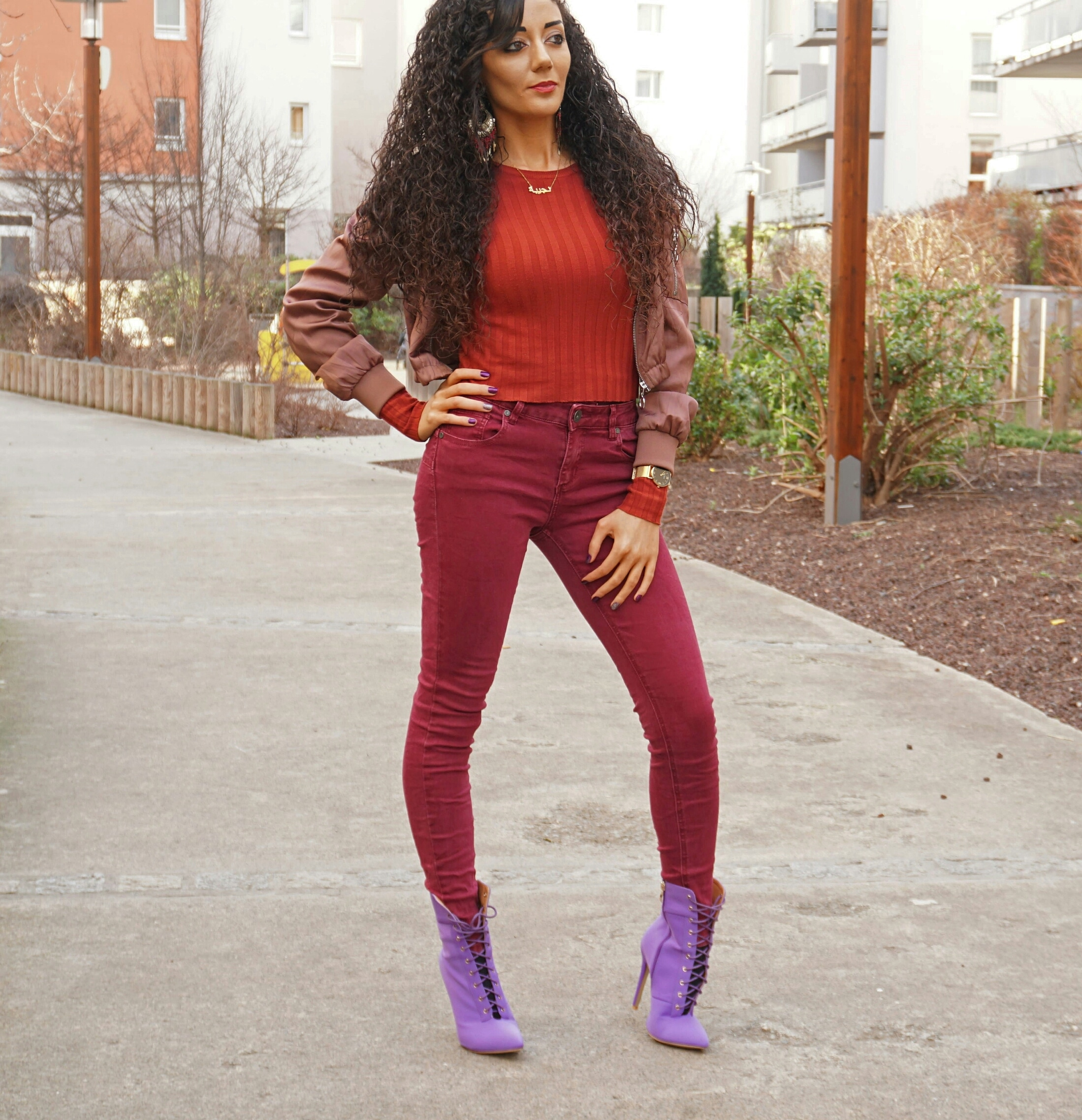 burgundy outfit and purple boots from ego official