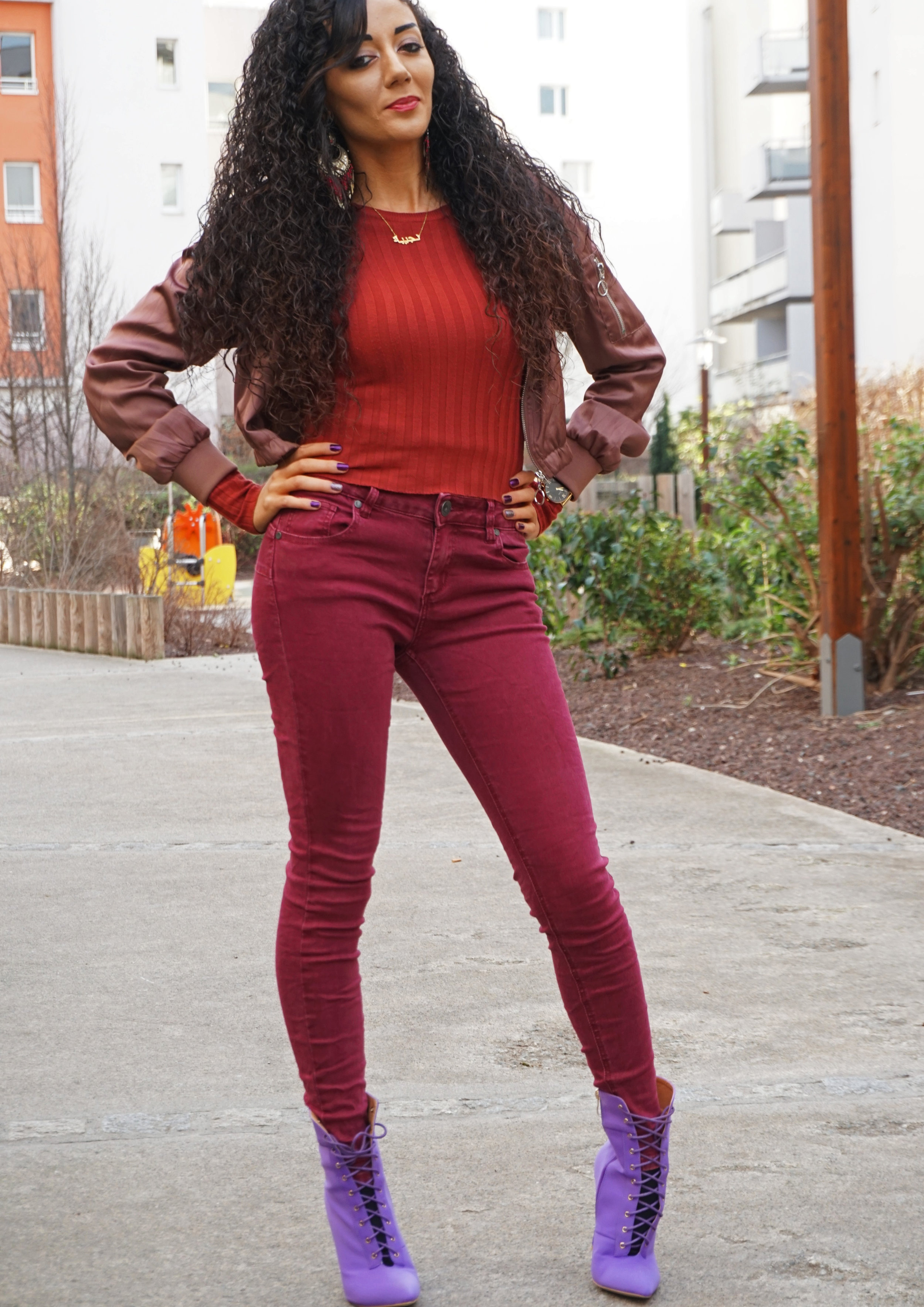 burgundy outfit lookbook - curly hair