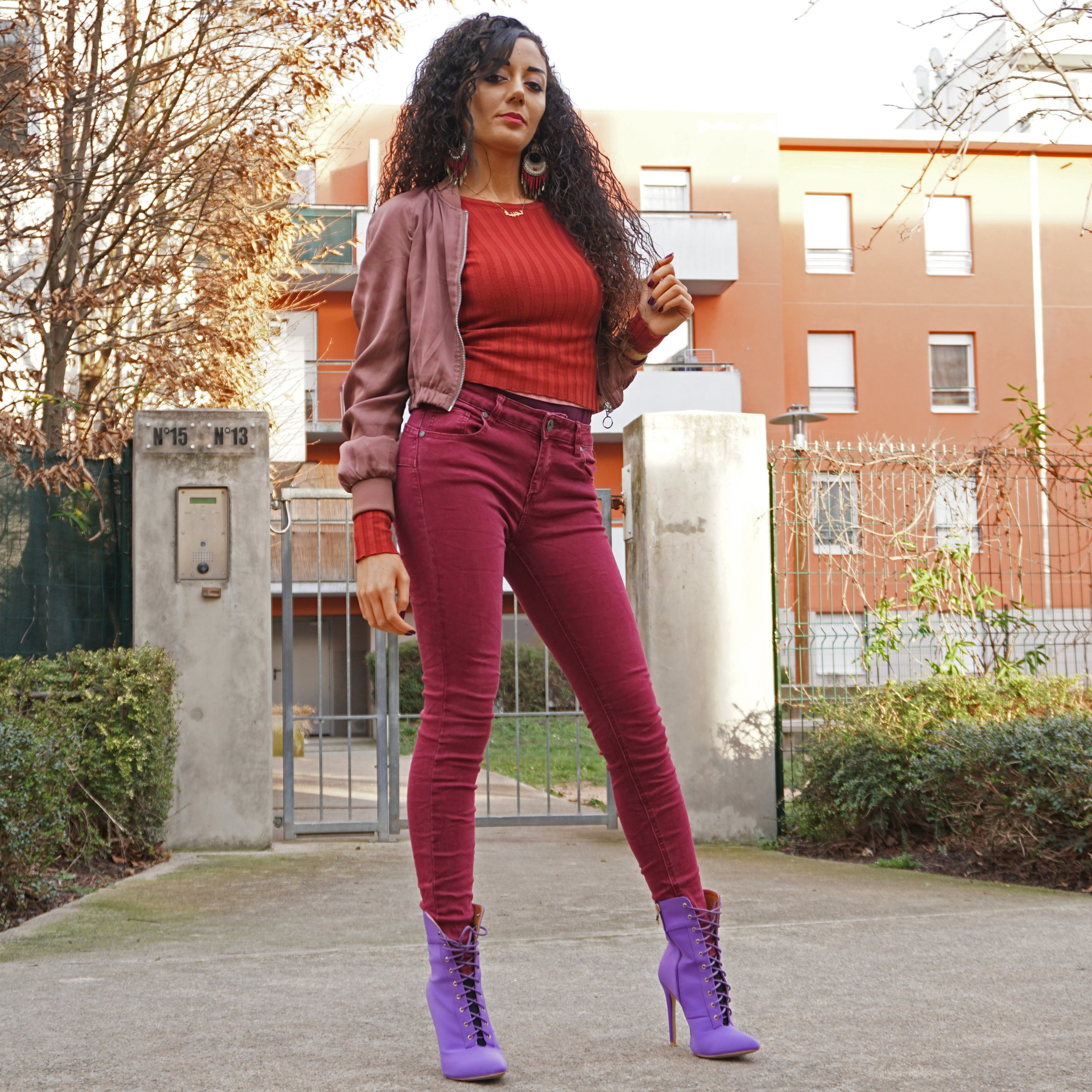Fashion inspo - purple boots and burgundy jean
