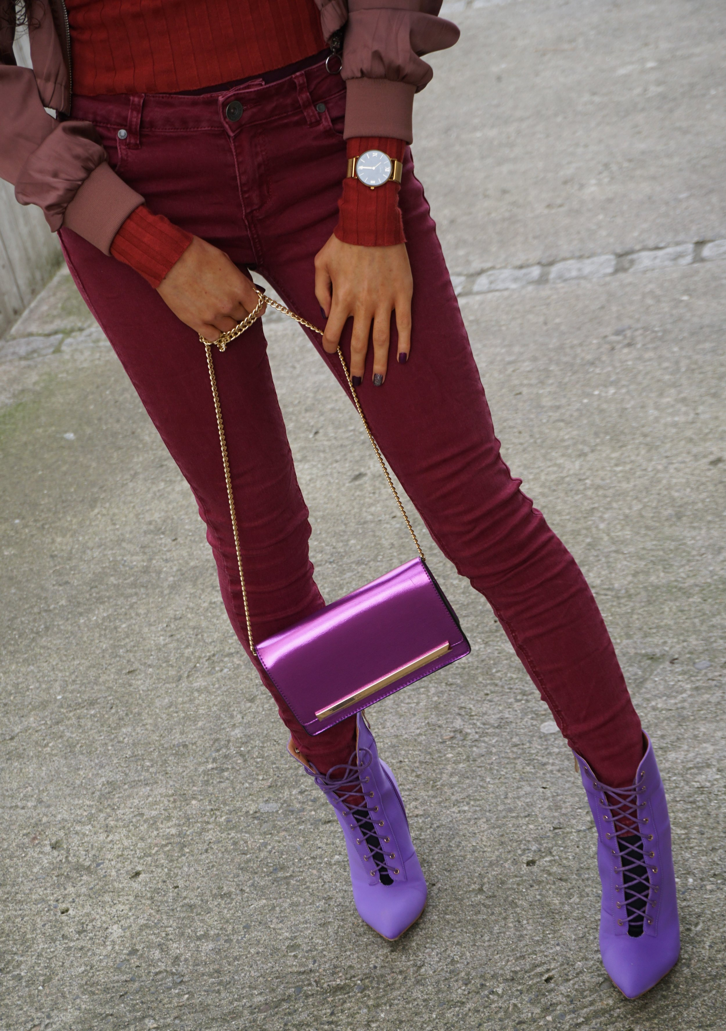 Ego official Laces Purple boots - Burgundy style