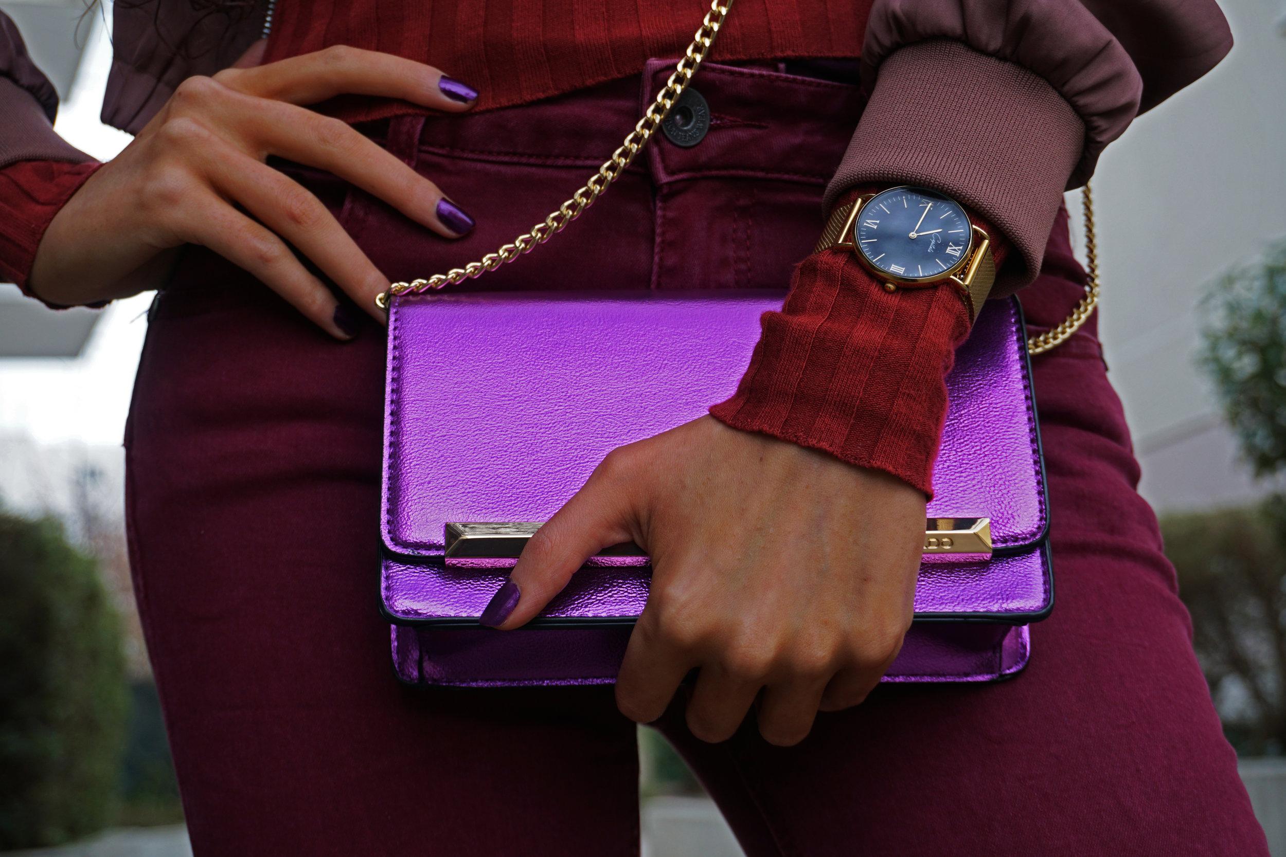 Aldo purple metallic purse - capitola watch