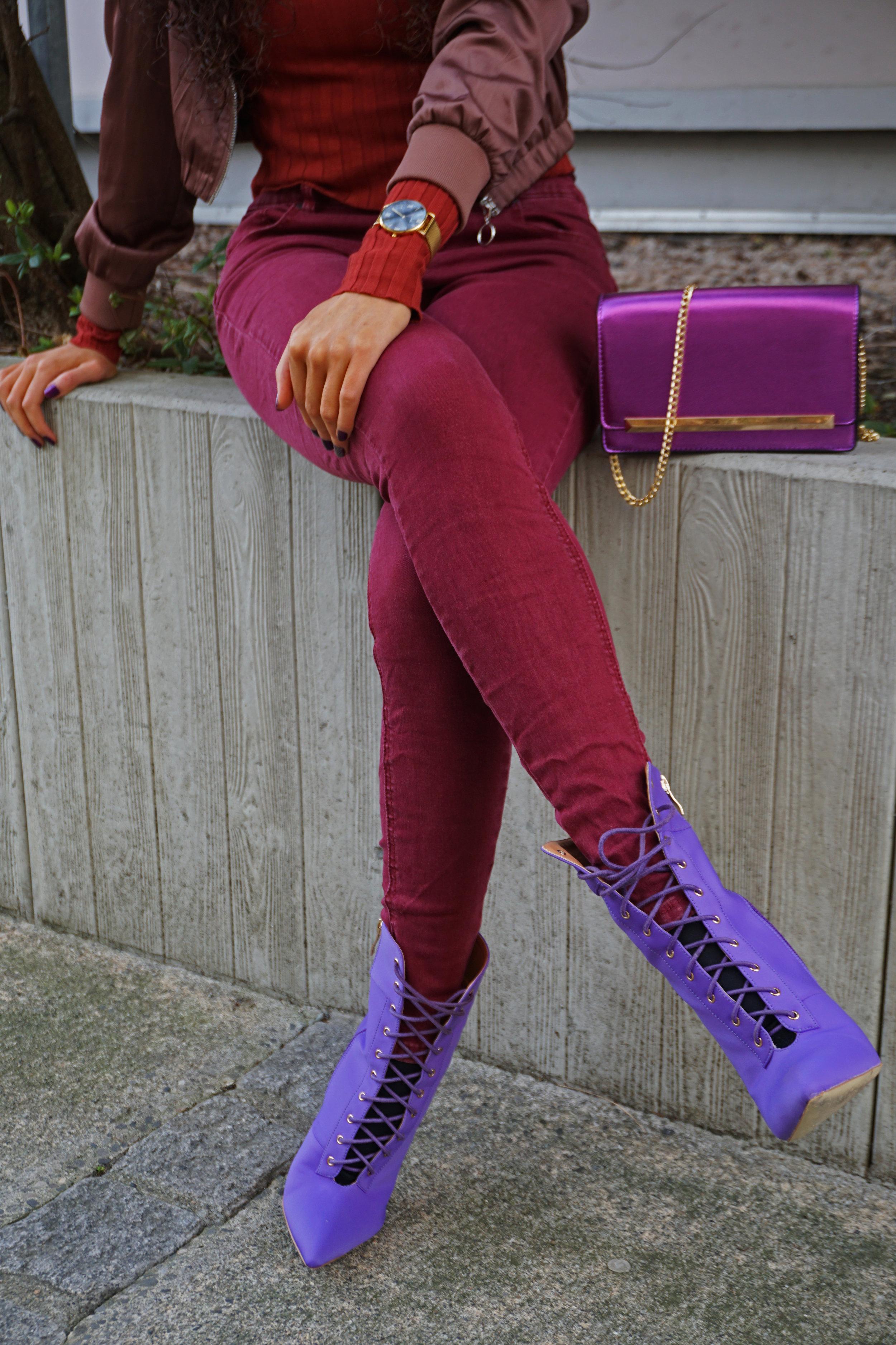 metallic trend - aldo purple bag - burgundy pants