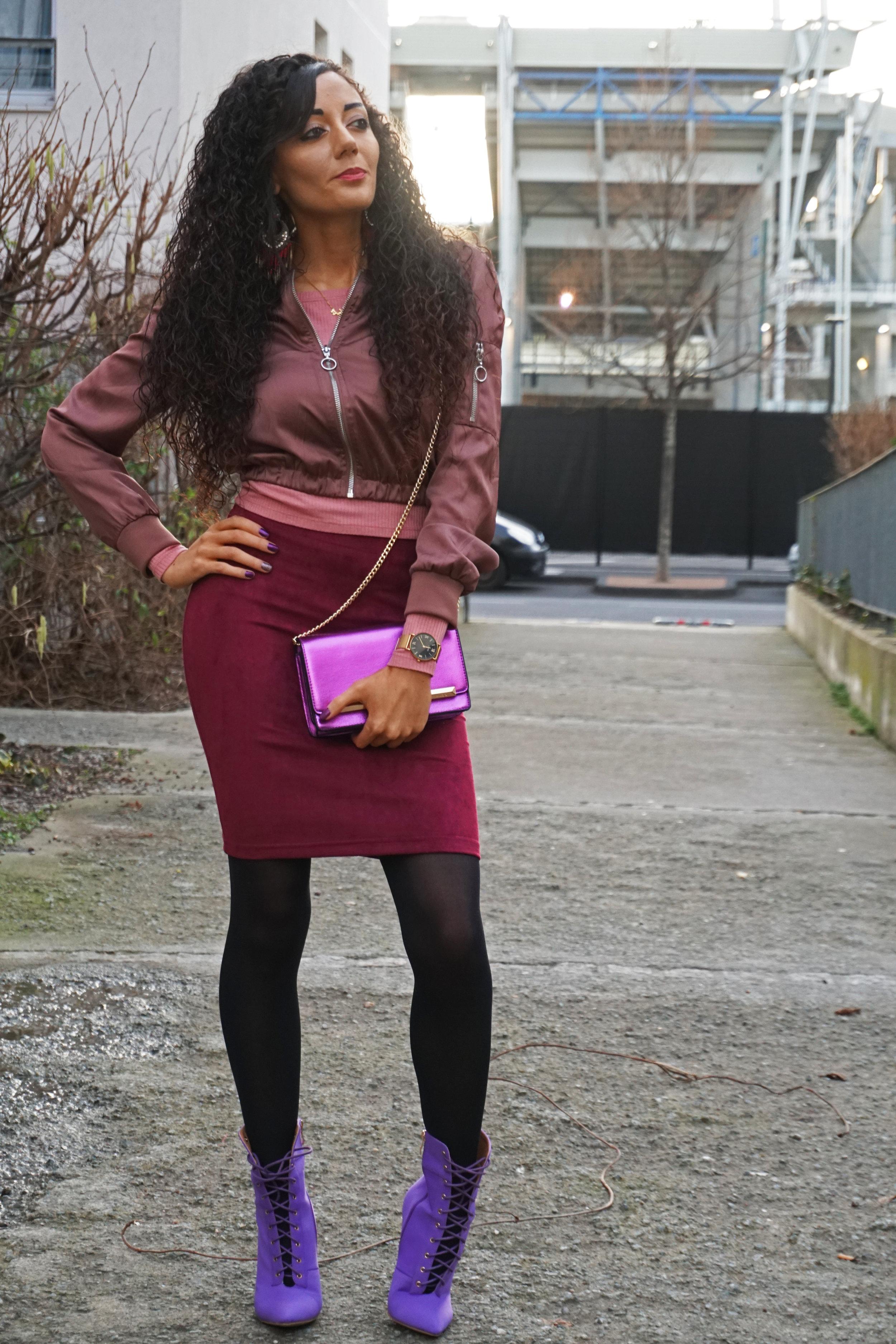 burgundy fashion lookbook - color block