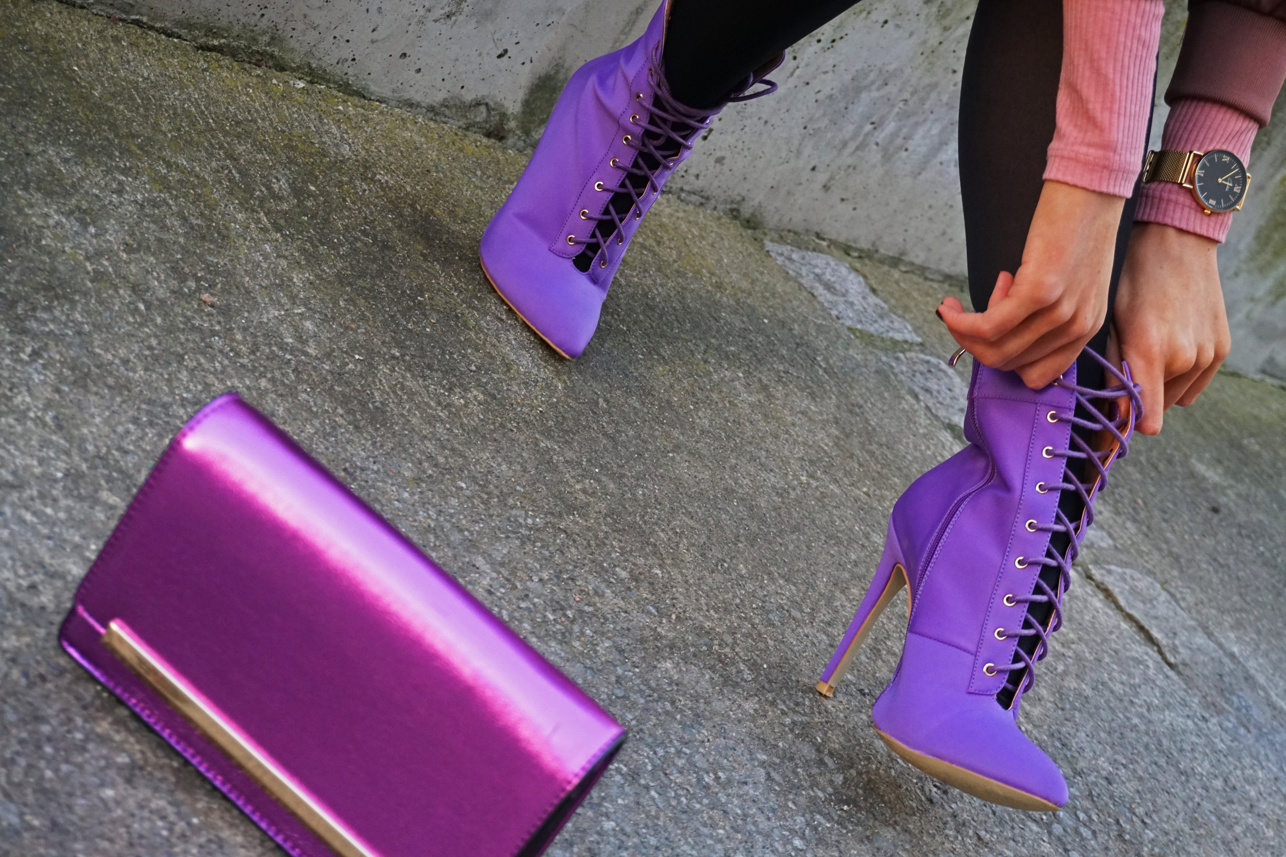 Purple boots from egooficial and purple bag from aldo shoes