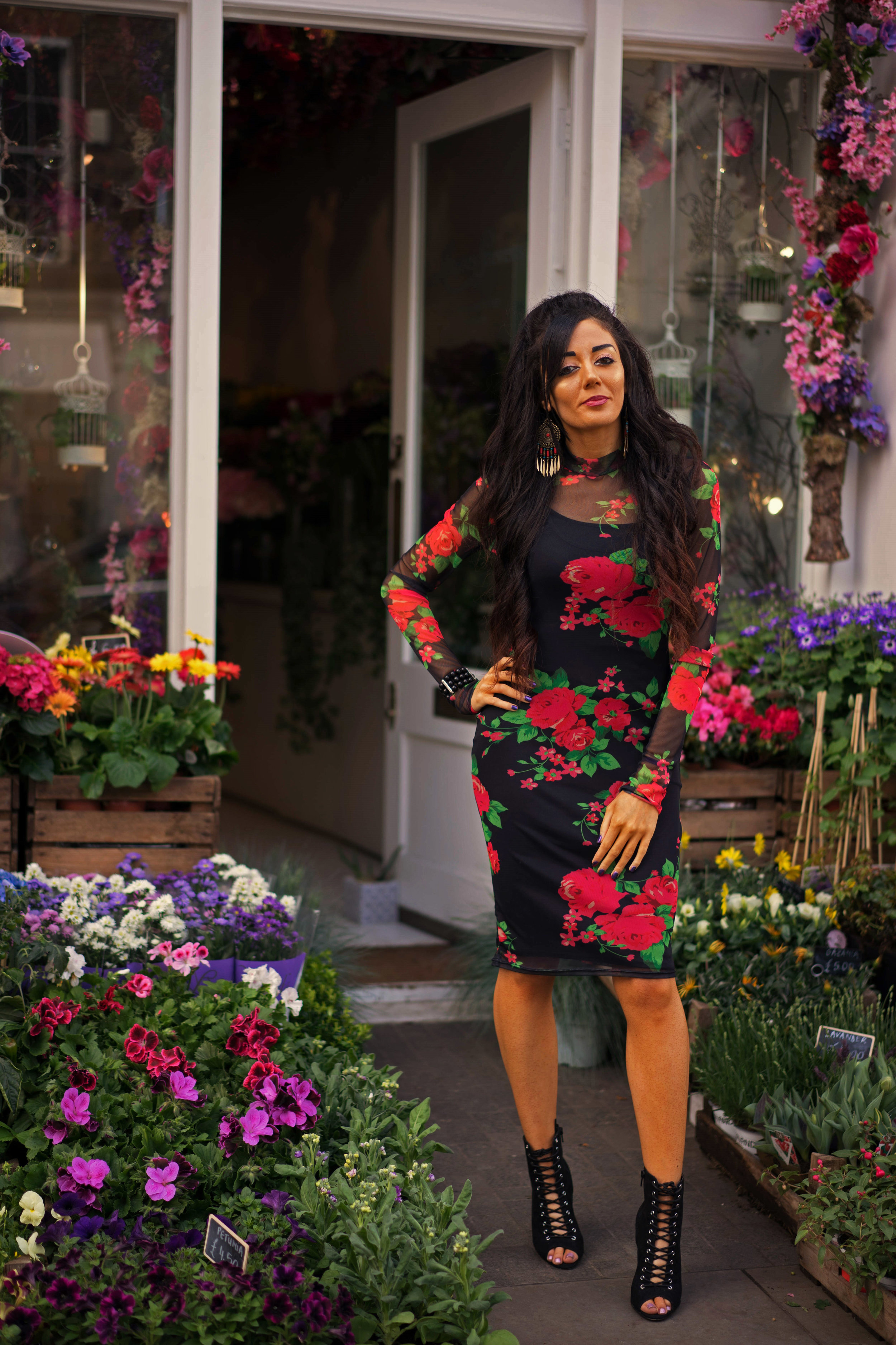 Floral dress - New Look heels - London