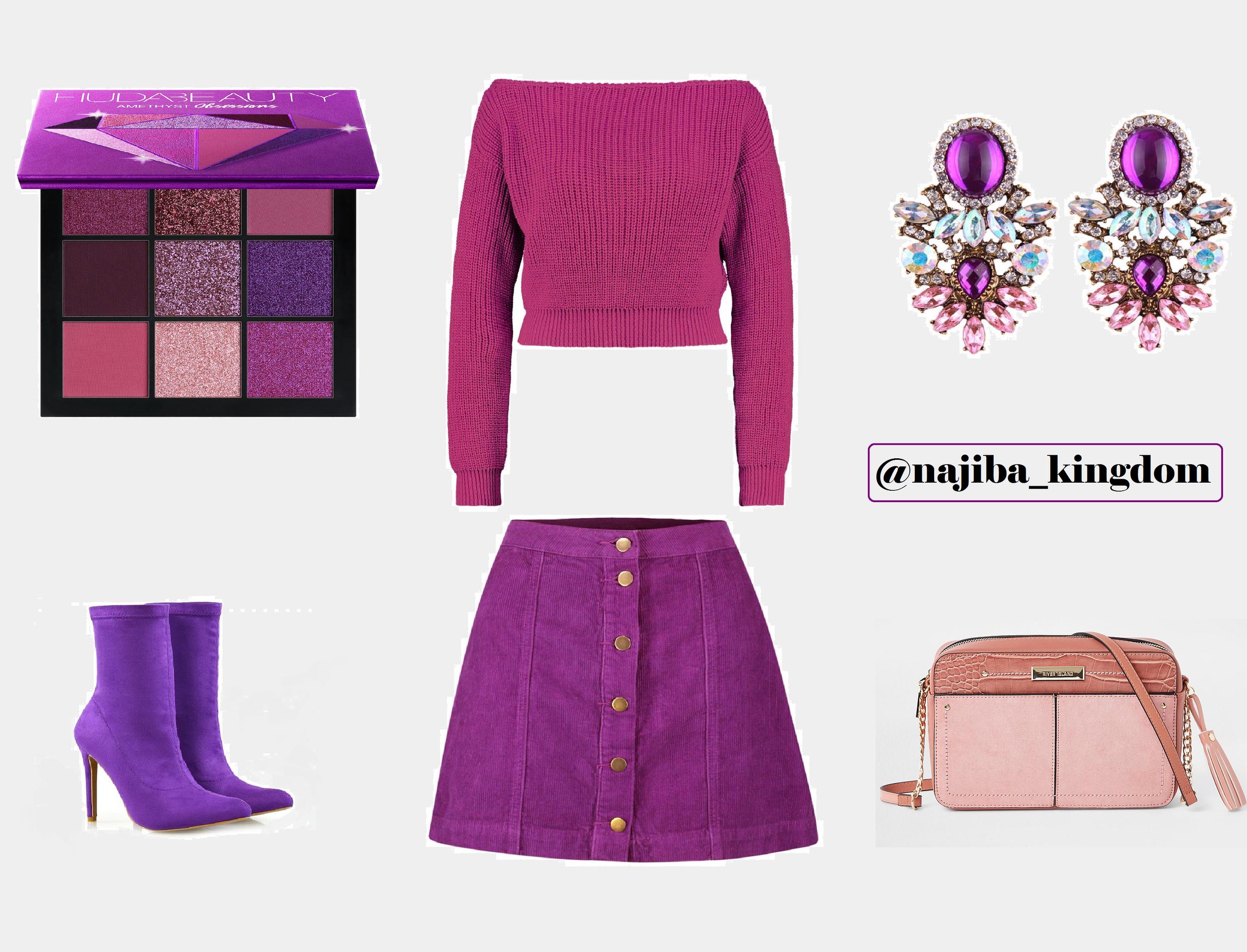 Boohoo style - Huda beauty lipstick - Purple look