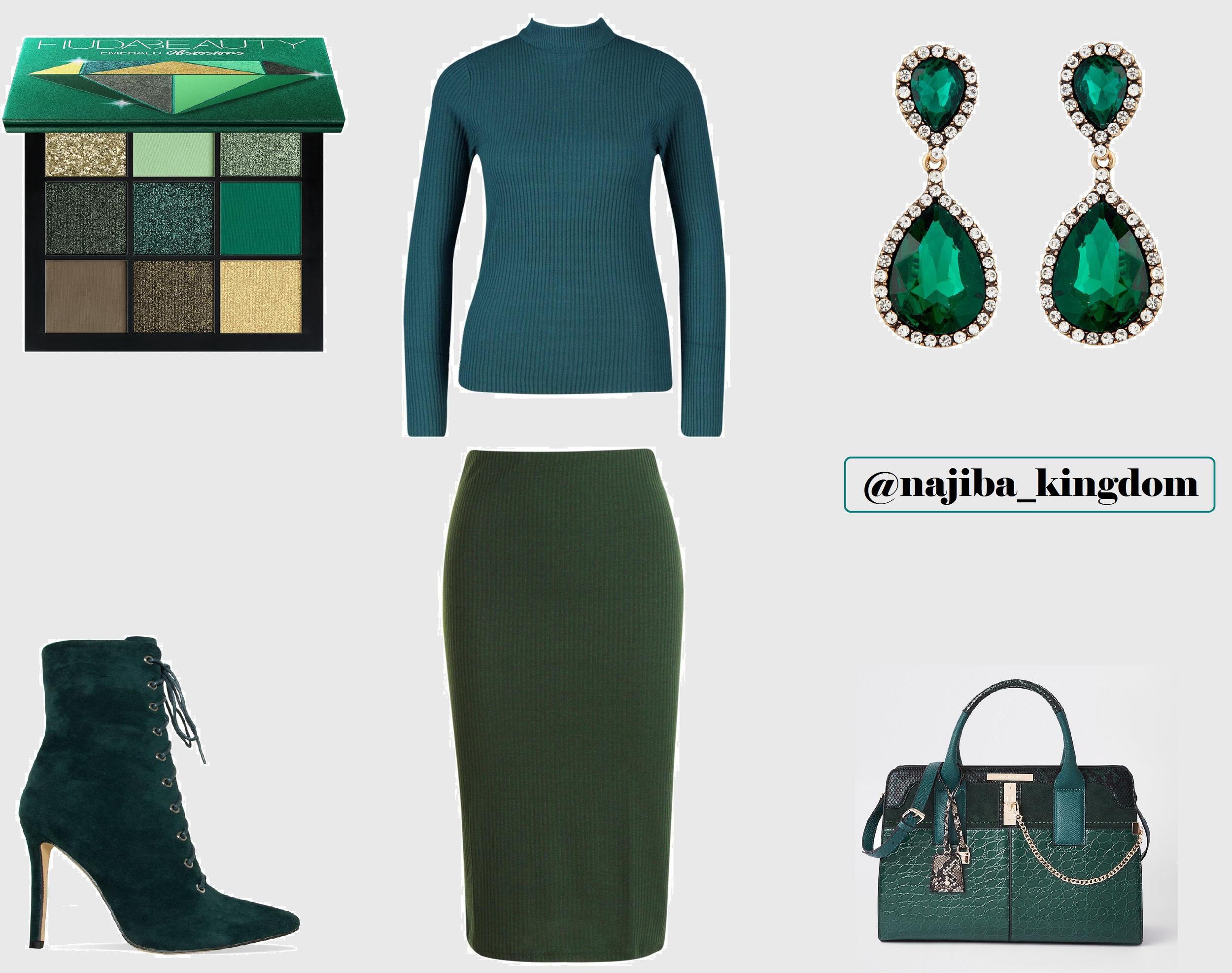 Emerald palette huda beauty - simmi london boots - lovisa earrings