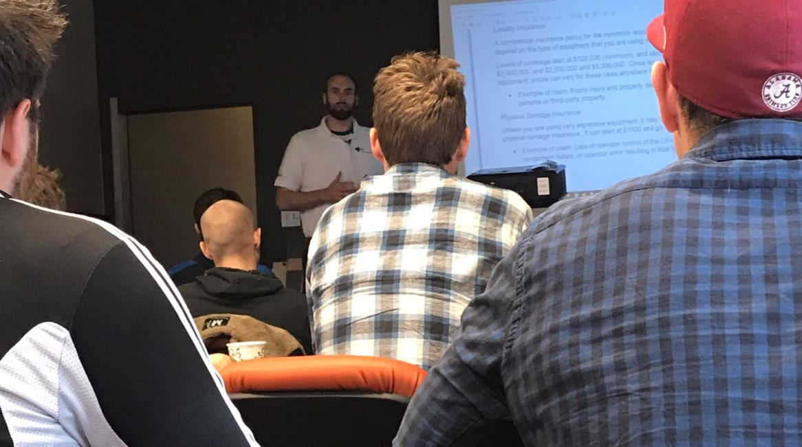 M3 Aerial Productions Chief Instructor and CEO Matthew Johnson speaks to a packed classroom in Headingley, Manitoba. Click the image to get more information about our next UAV courses offered near you!
