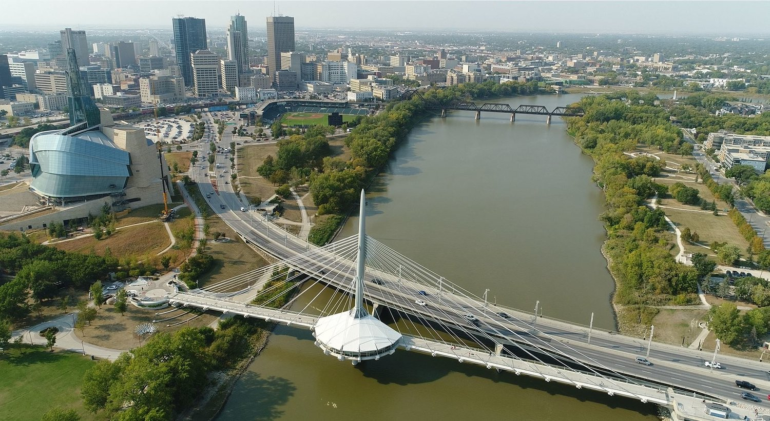 drone picture of winnipeg aerial view of downtown and provencher bridge museum of human rights.jpg