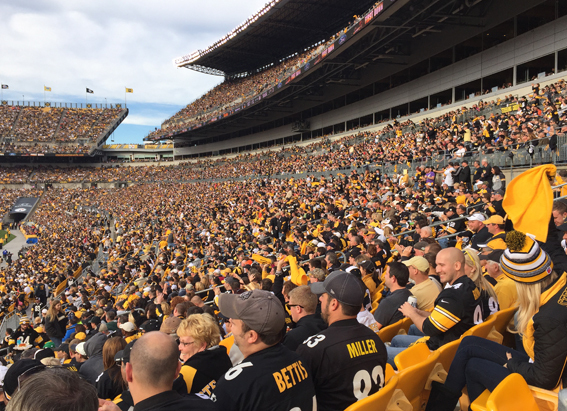 Sea of black and gold at Steelers game Photos courtesy of Sam Gary