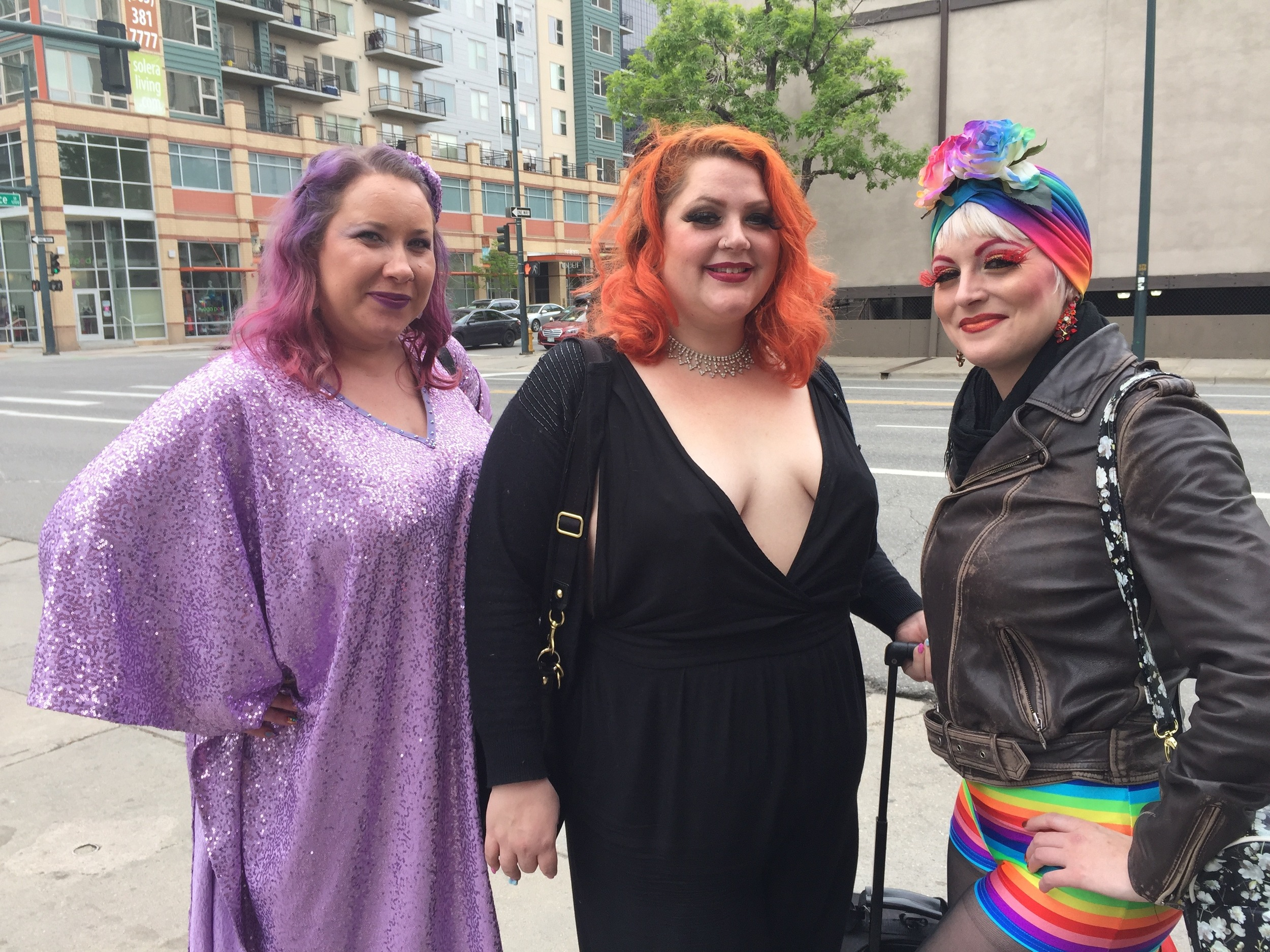 A group of ladies outside of Ophelia's Electric Soapbox in town for Fierce! Queer Burlesque Festival.
