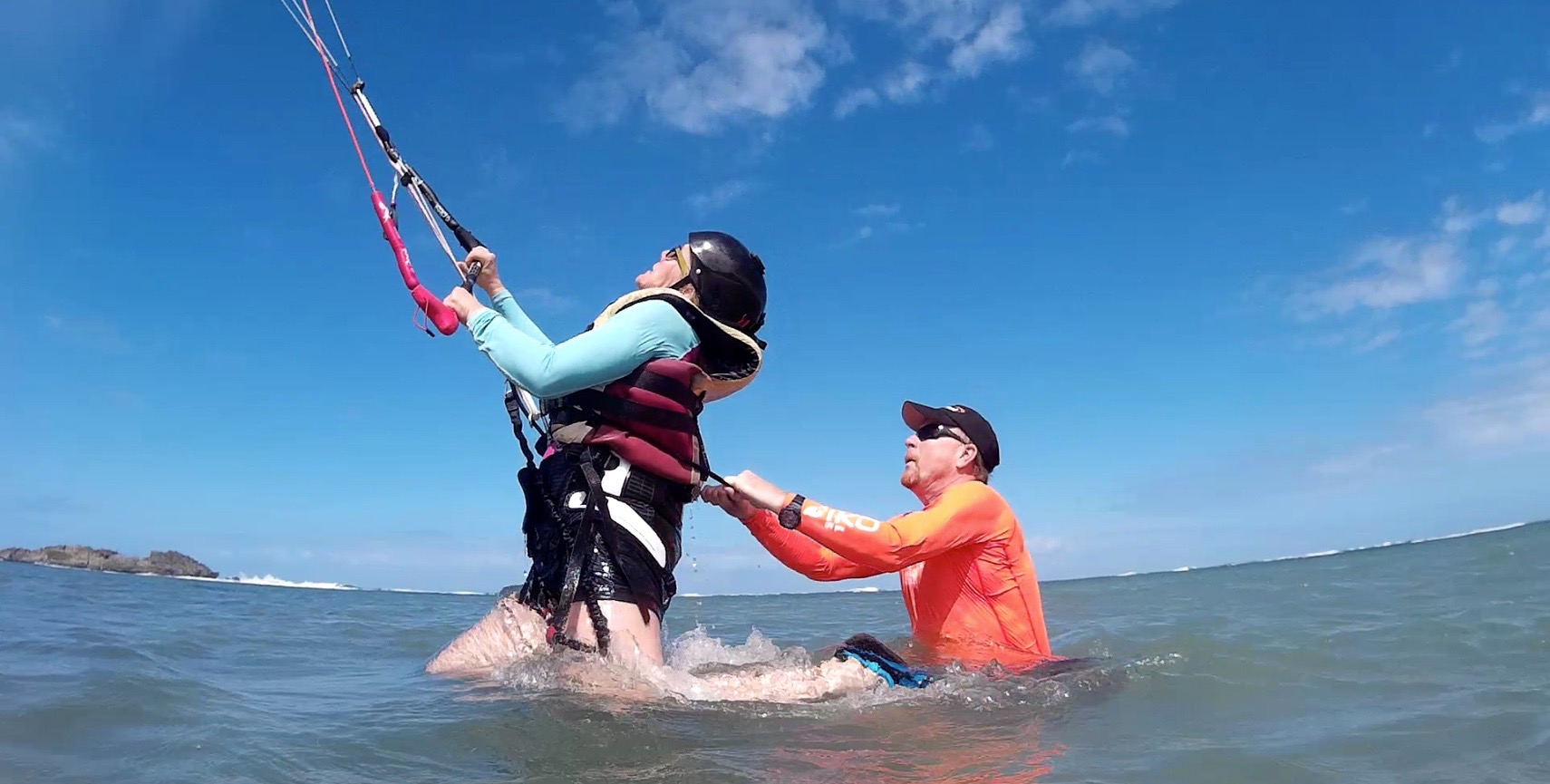 Learning to kiteboard in the Dominican Republic with instructor, Gerhard Marsch, owner of Ontario-based Ukiteboard.com