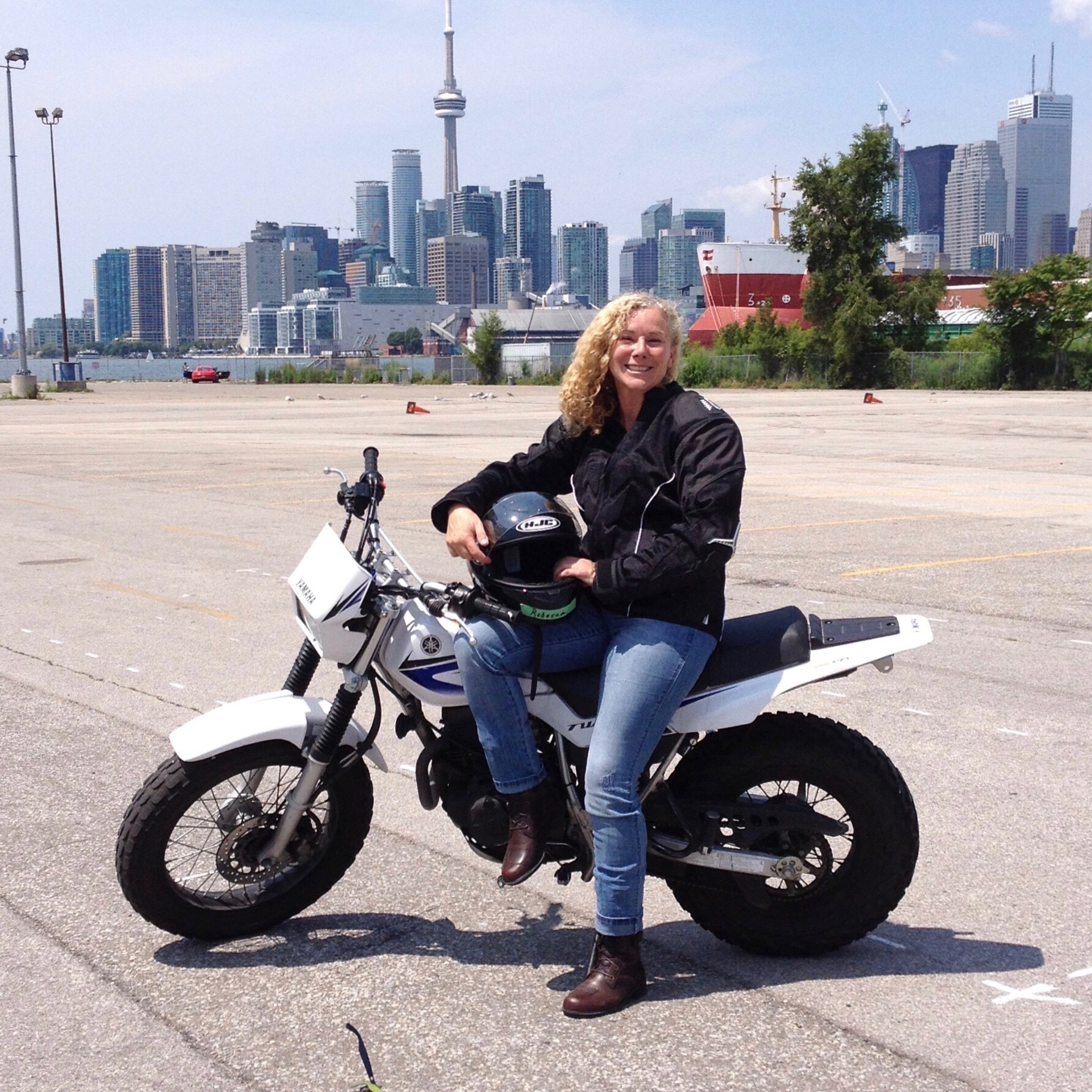 Big smile after passing Toronto's Rider Training Institute course and getting motorcycle license!