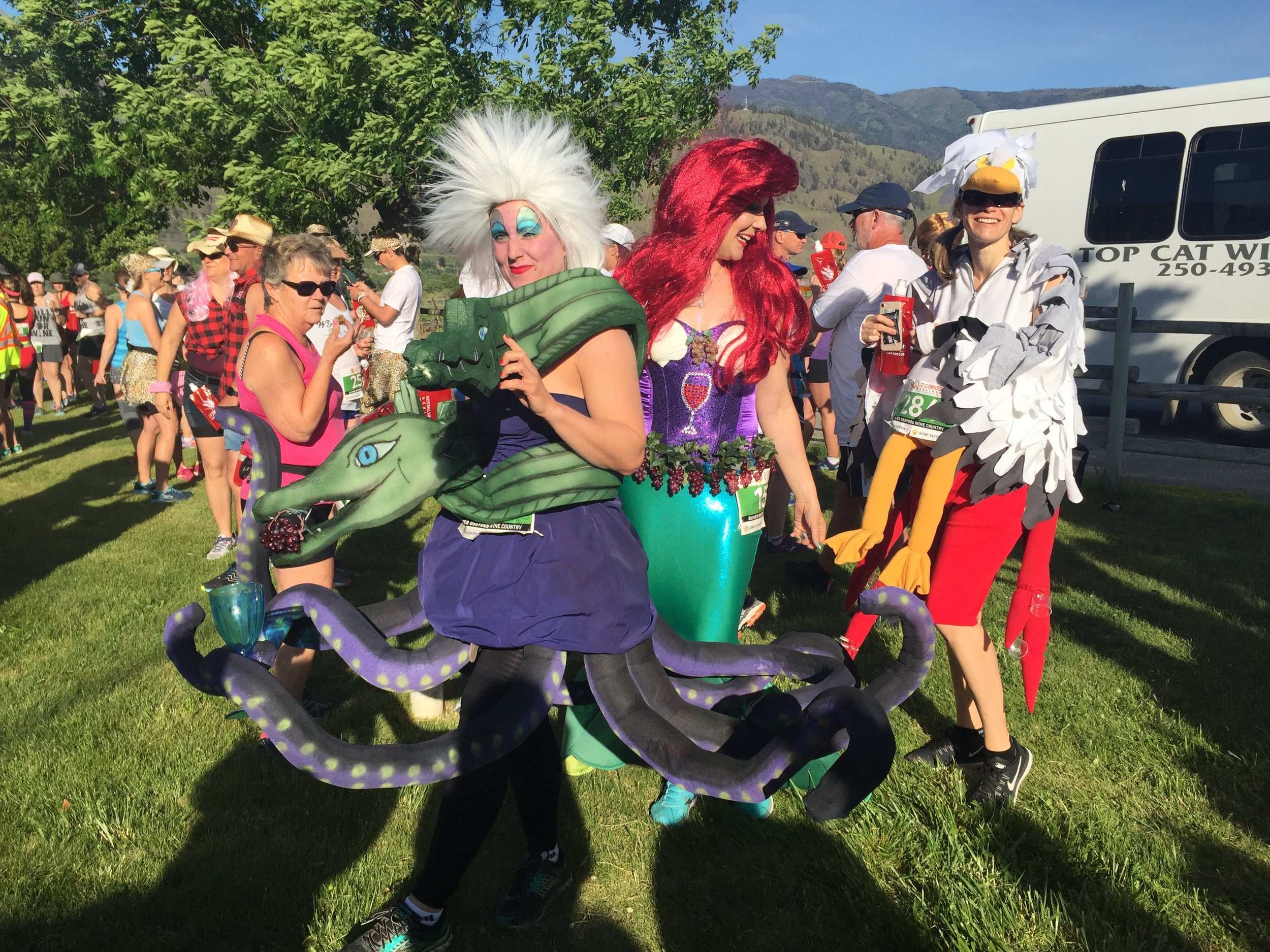 Runners, in full costume, gather at the Start Line to embark on the annual Half Corked Marathon held in British Columbia's Oliver Osoyoos Wine Country